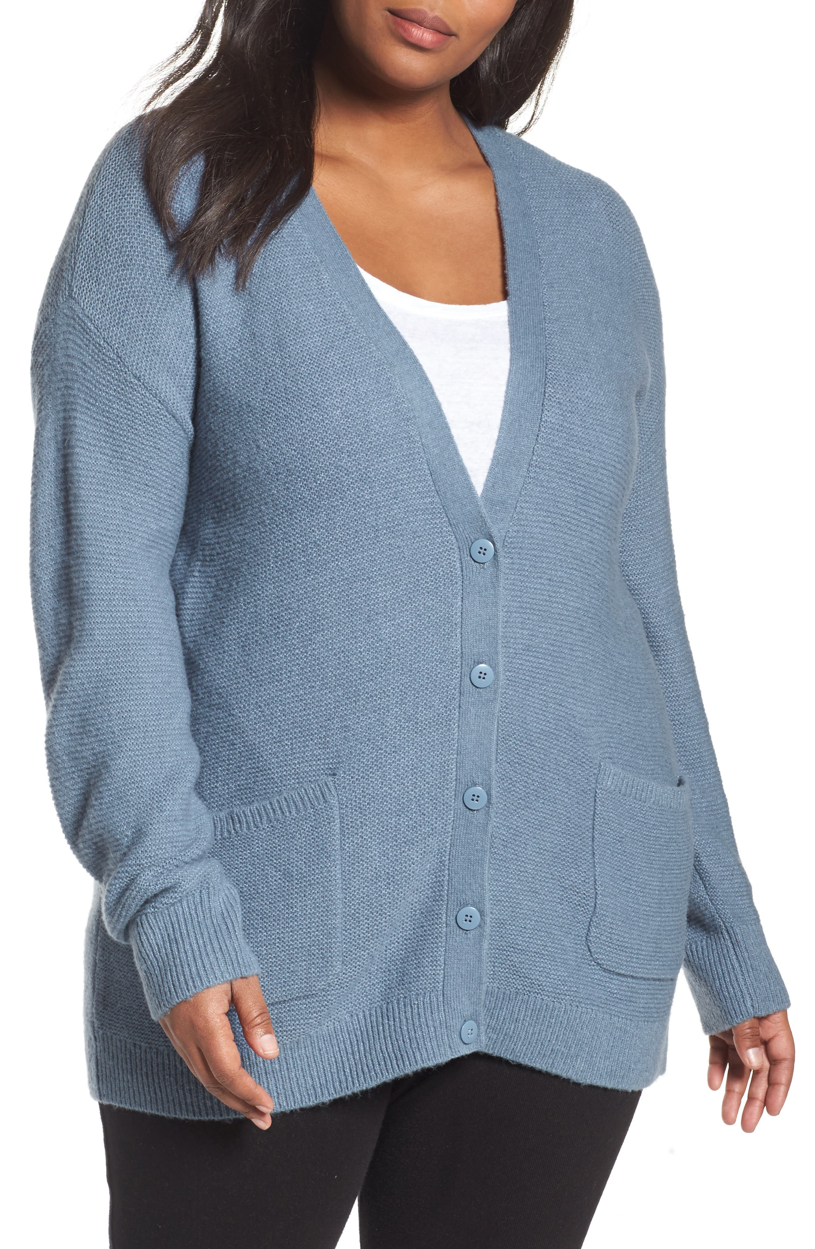 Long V-Neck Wool Blend Cardigan,                         Main,                         color, Blue