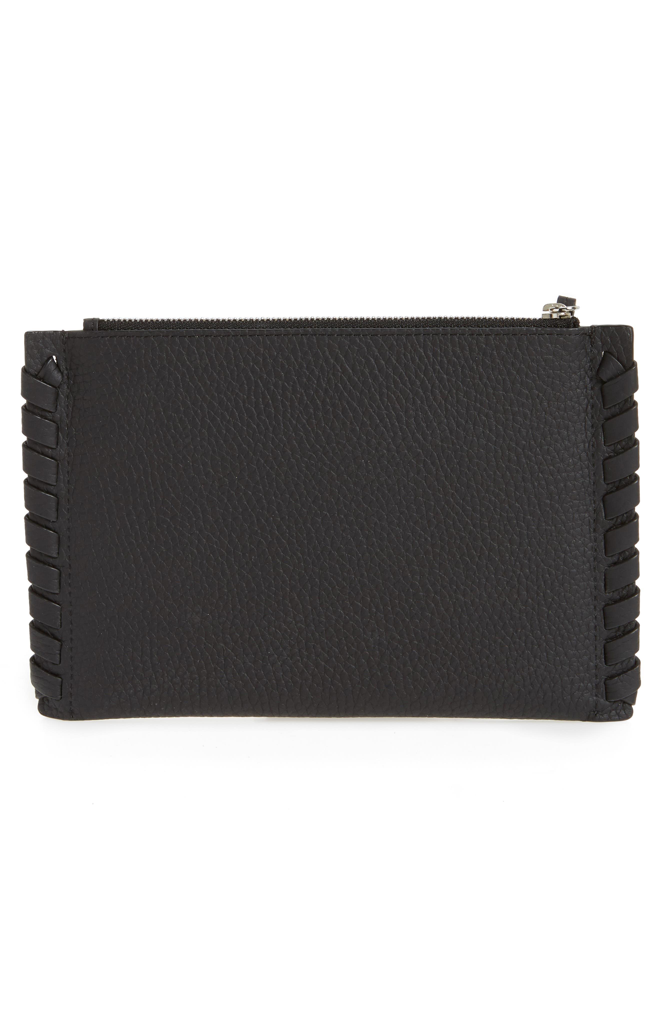 Small Kepi Leather Zip Pouch,                             Alternate thumbnail 3, color,                             Black