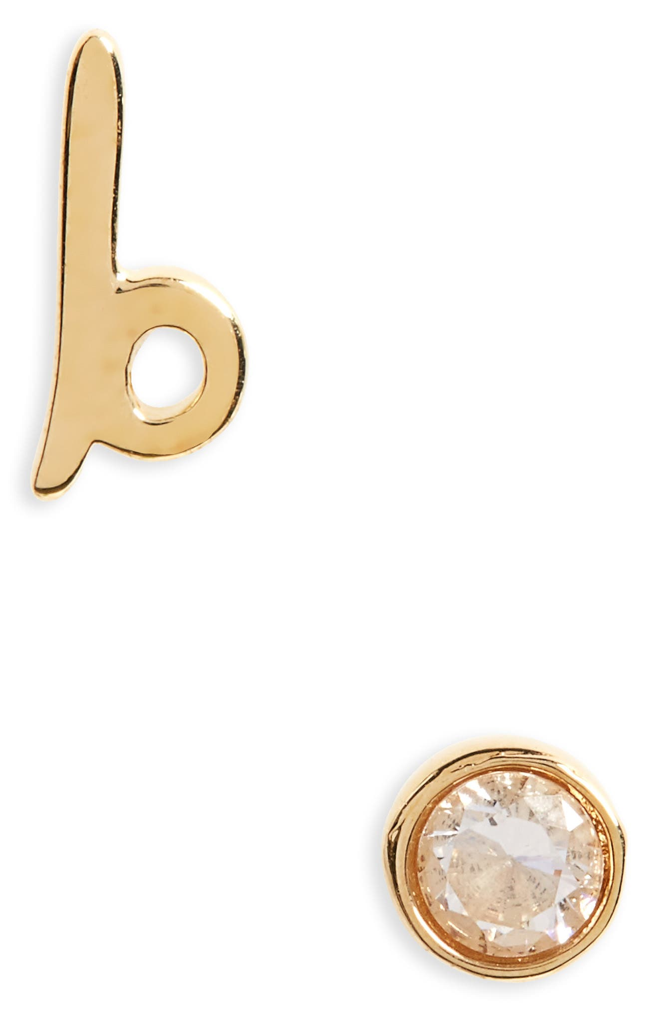 one in a million mismatched stud earrings,                         Main,                         color, B/ Gold