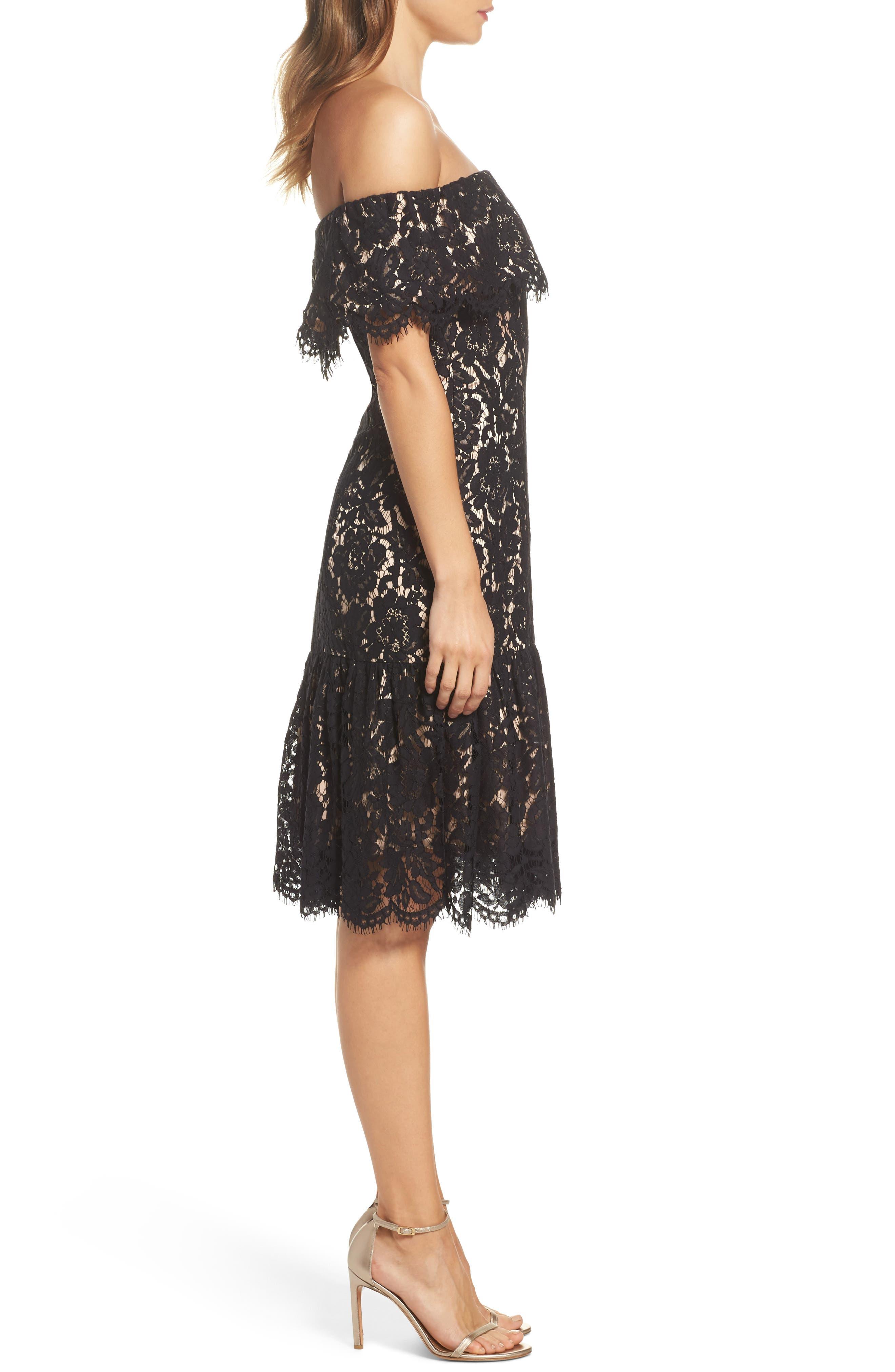Lace Off the Shoulder Midi Dress,                             Alternate thumbnail 3, color,                             Black