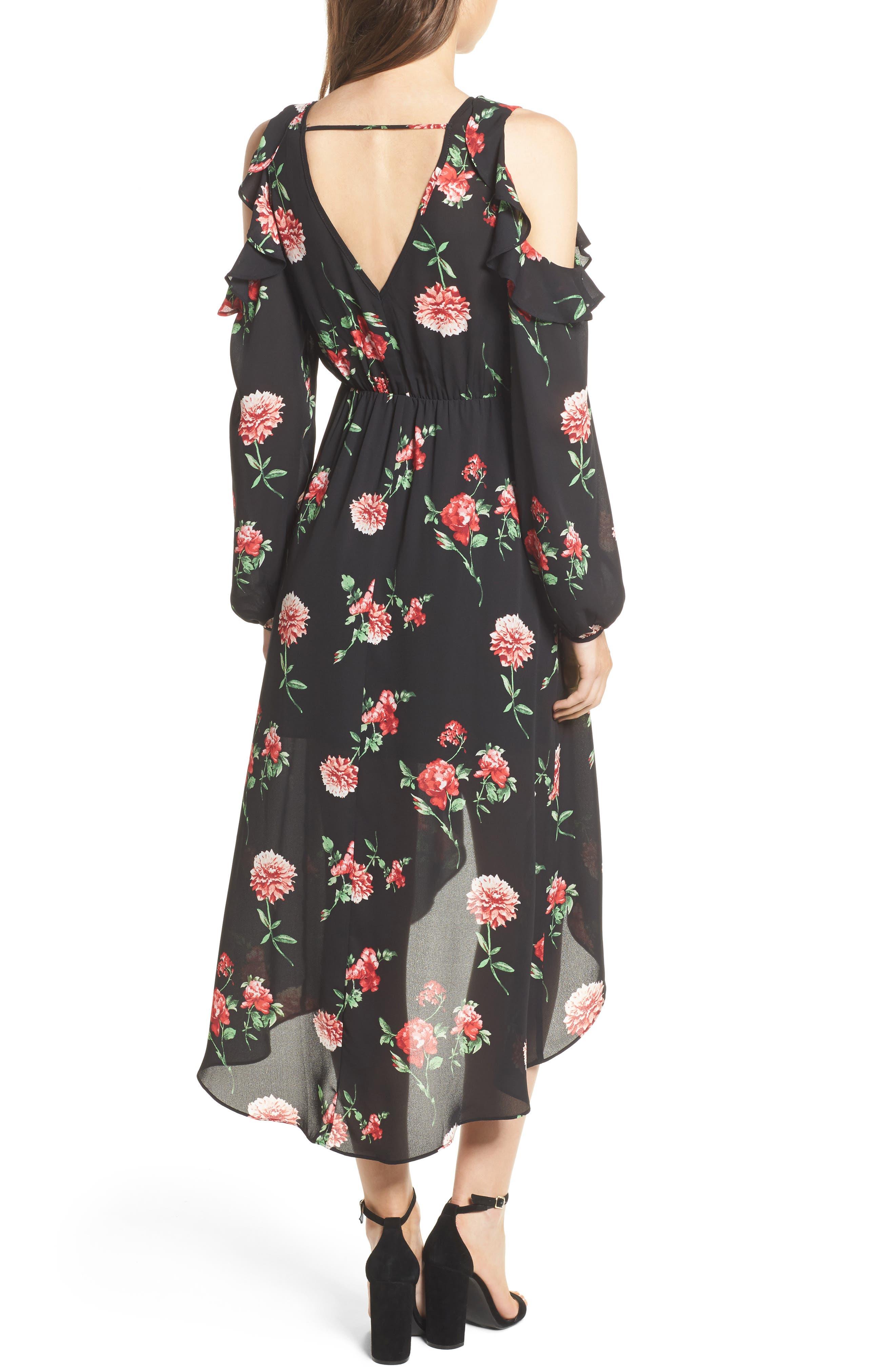 Ruffle Cold Shoulder Faux Wrap Dress,                             Alternate thumbnail 2, color,                             750 Black Red