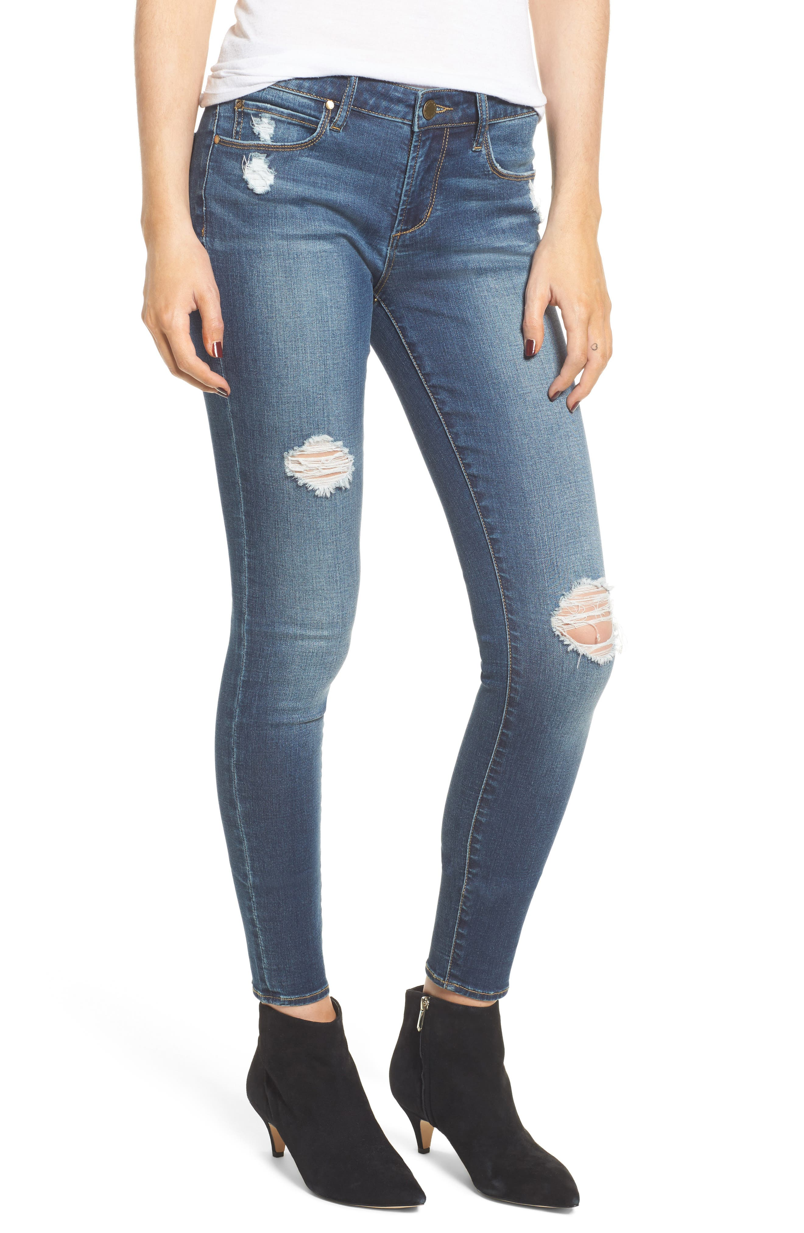 Sarah Shadow Pocket Distressed Skinny Jeans,                         Main,                         color, Illusion