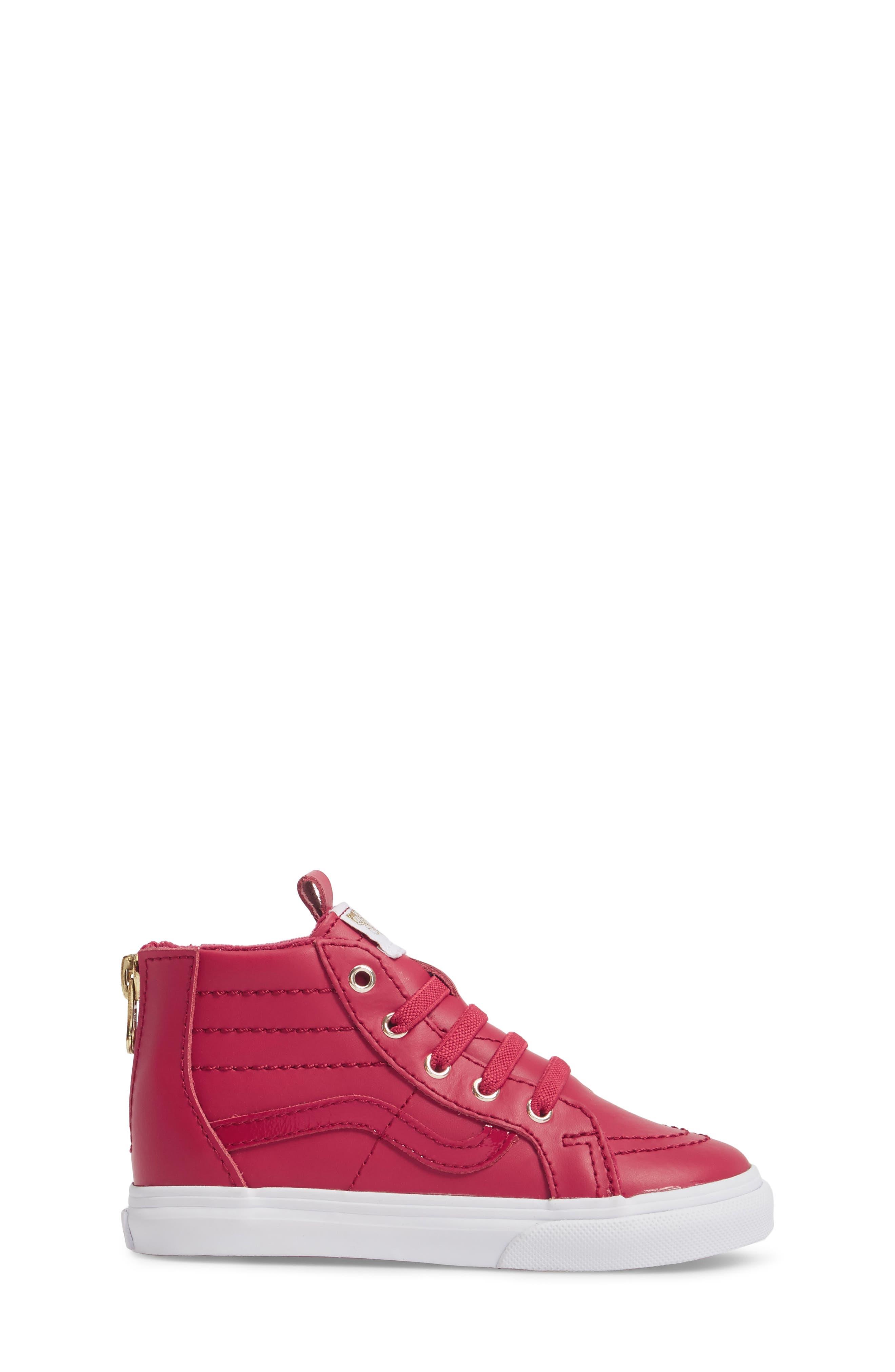 SK8-Hi Zip Sneaker,                             Alternate thumbnail 3, color,                             Persian Red/ Gold