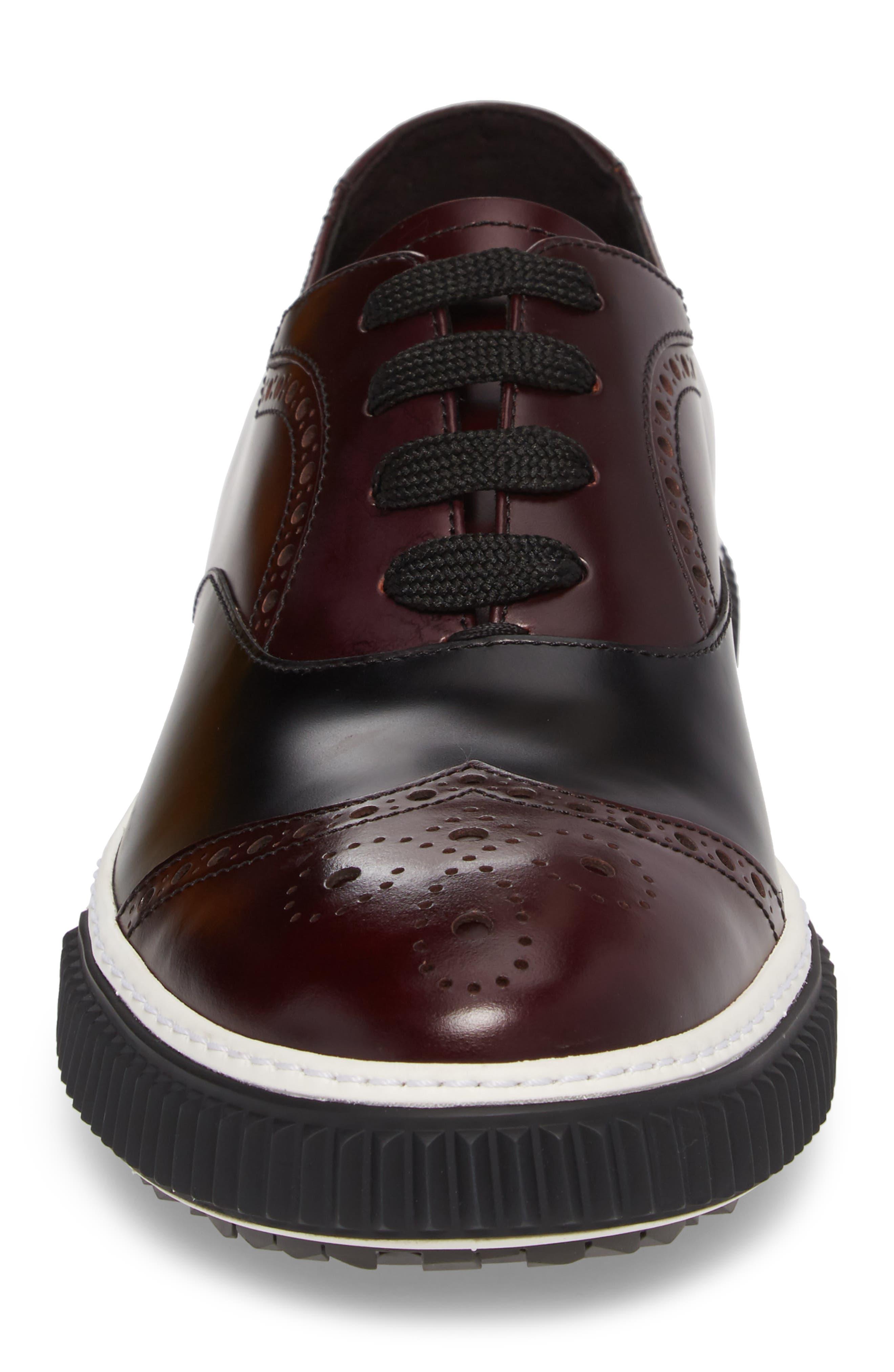 Linea Rossa Wingtip Sneaker,                             Alternate thumbnail 4, color,                             Cordovan Nero