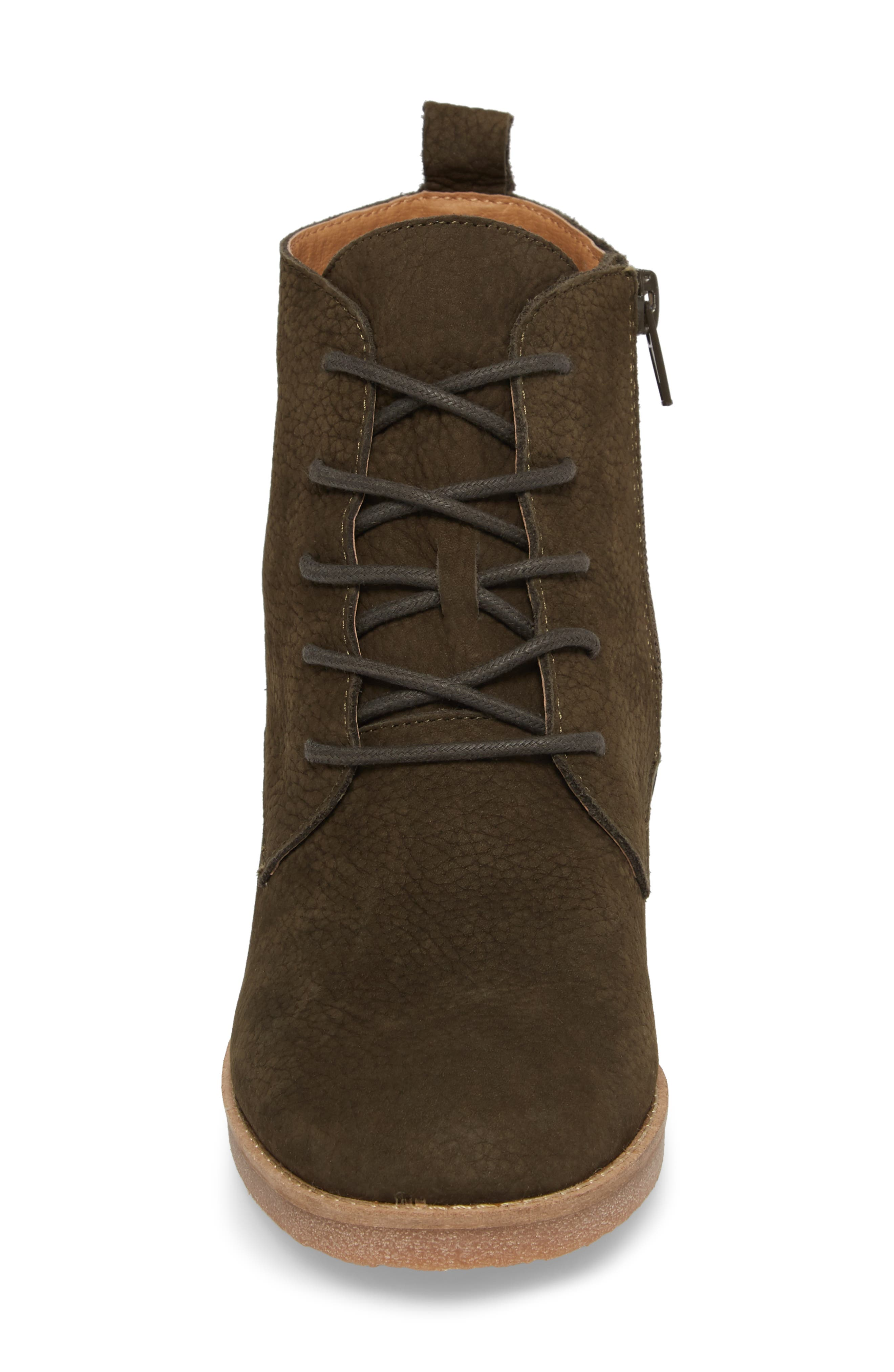 Tamela Lace-Up Bootie,                             Alternate thumbnail 4, color,                             Dark Moss Nubuck