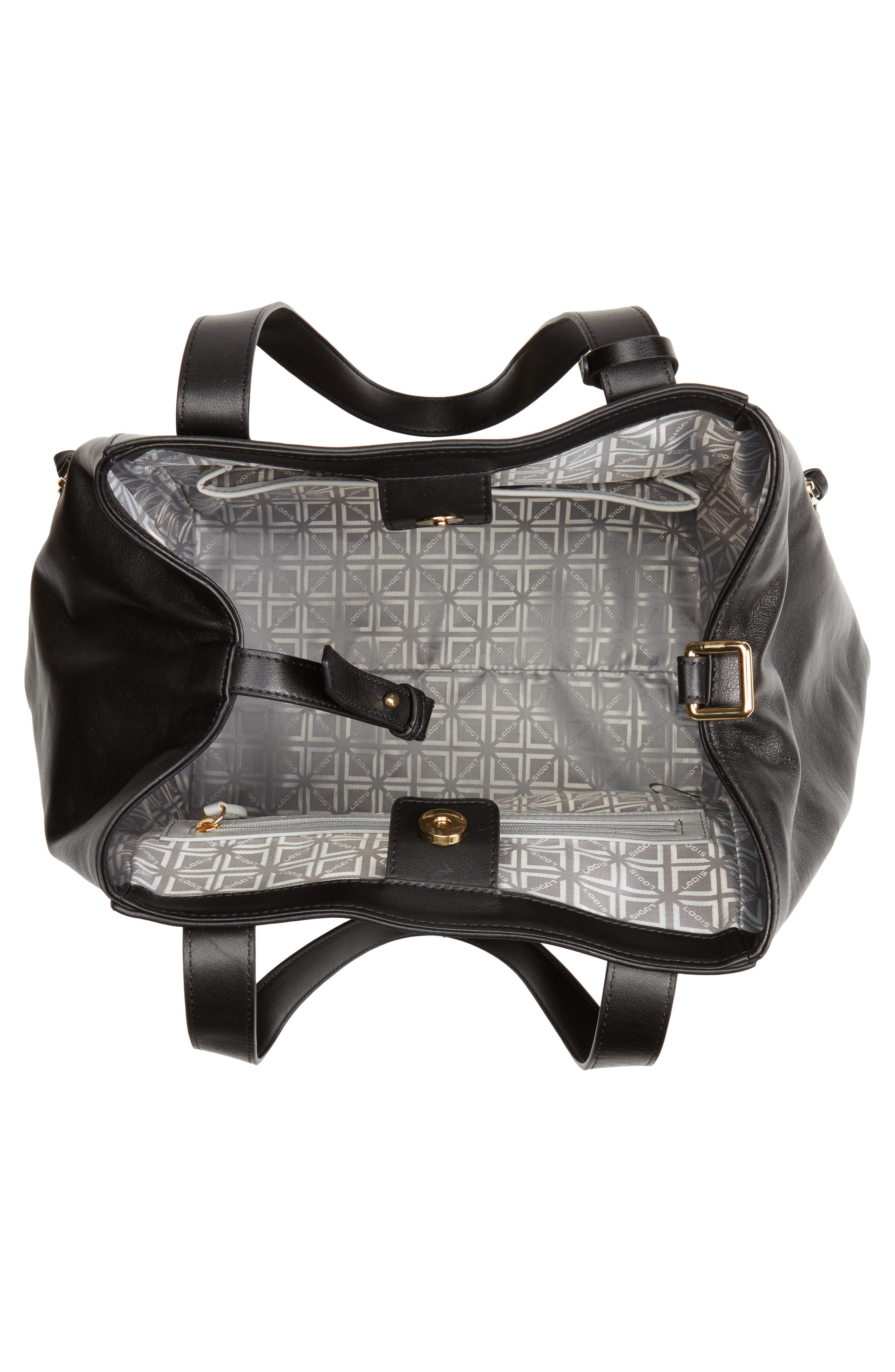Downtown Charlize RFID Leather Tote,                             Alternate thumbnail 4, color,                             Black