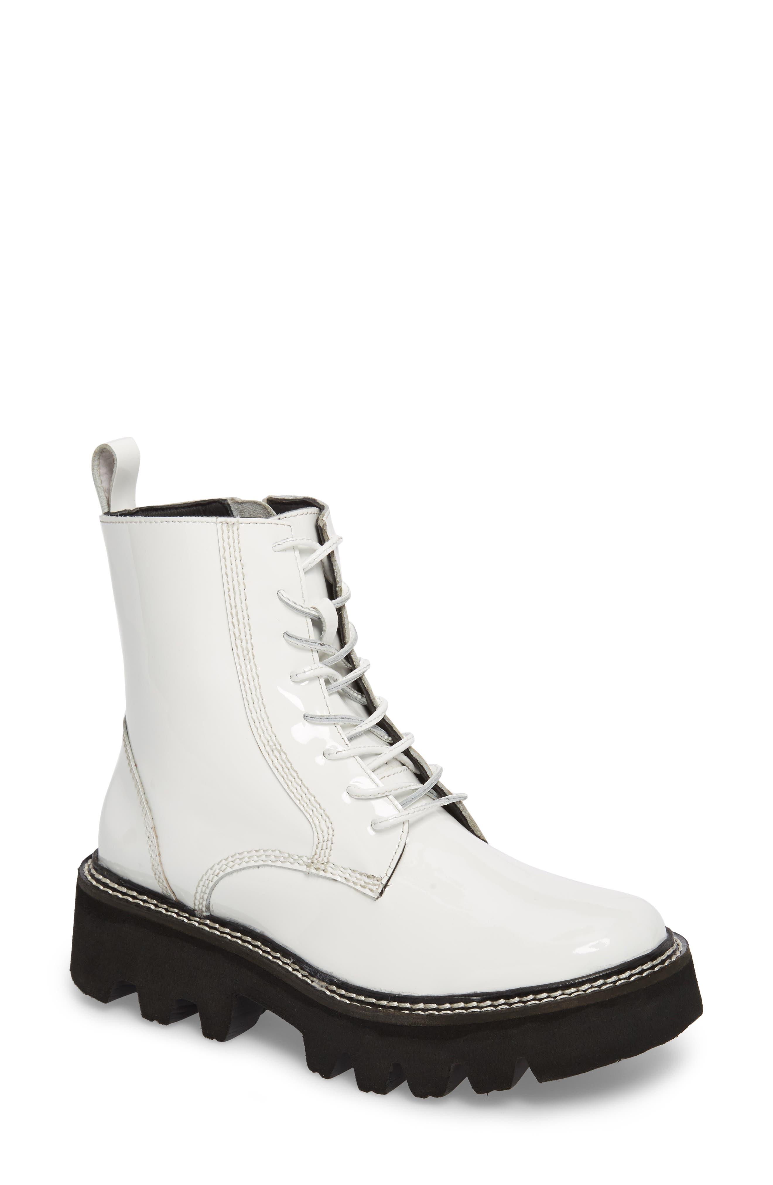 Agira Lug Boot,                             Main thumbnail 1, color,                             White Patent Leather