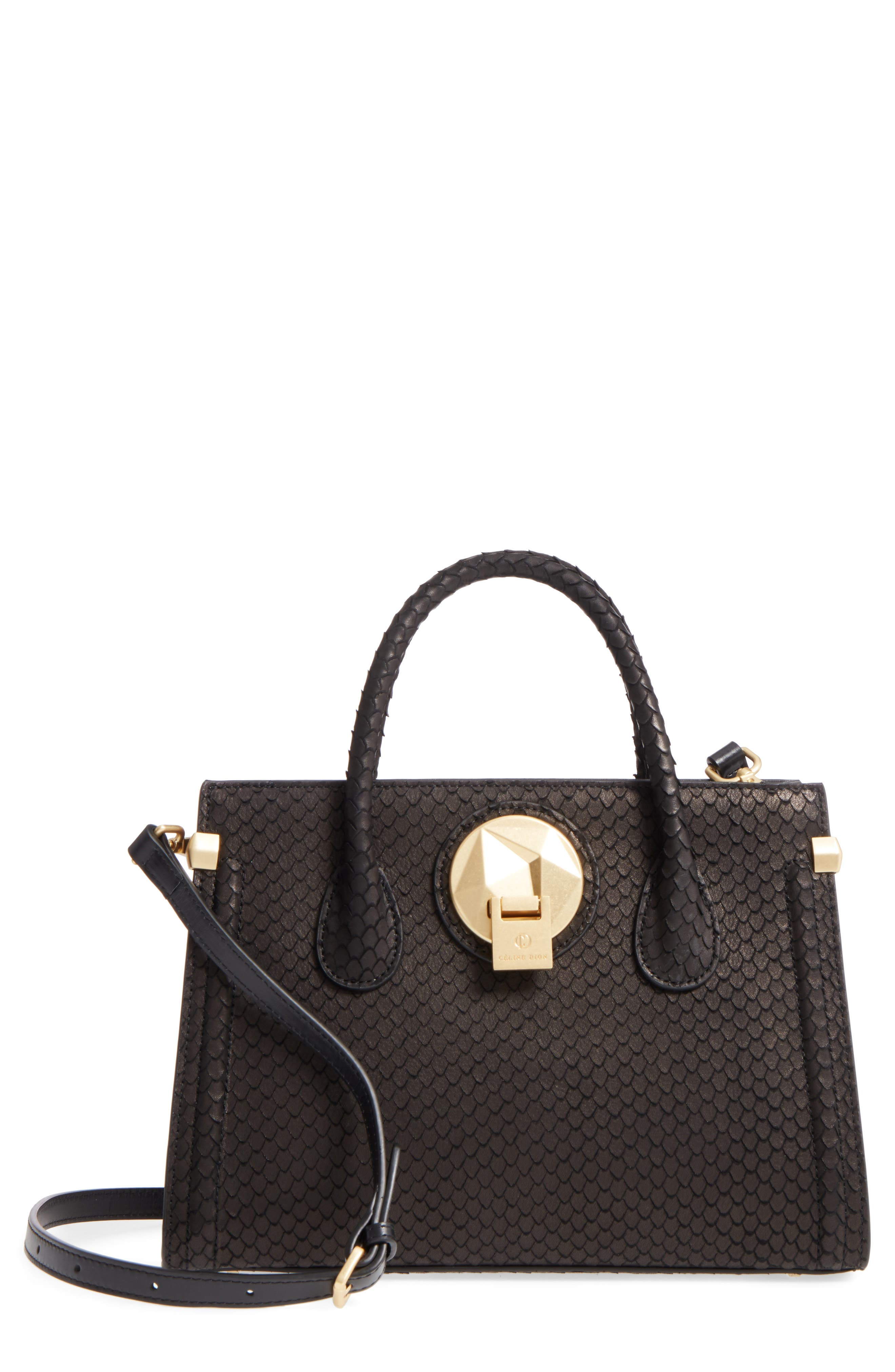 Céline Dion Octave Snake Embossed Leather Satchel,                             Main thumbnail 1, color,                             Black Snake