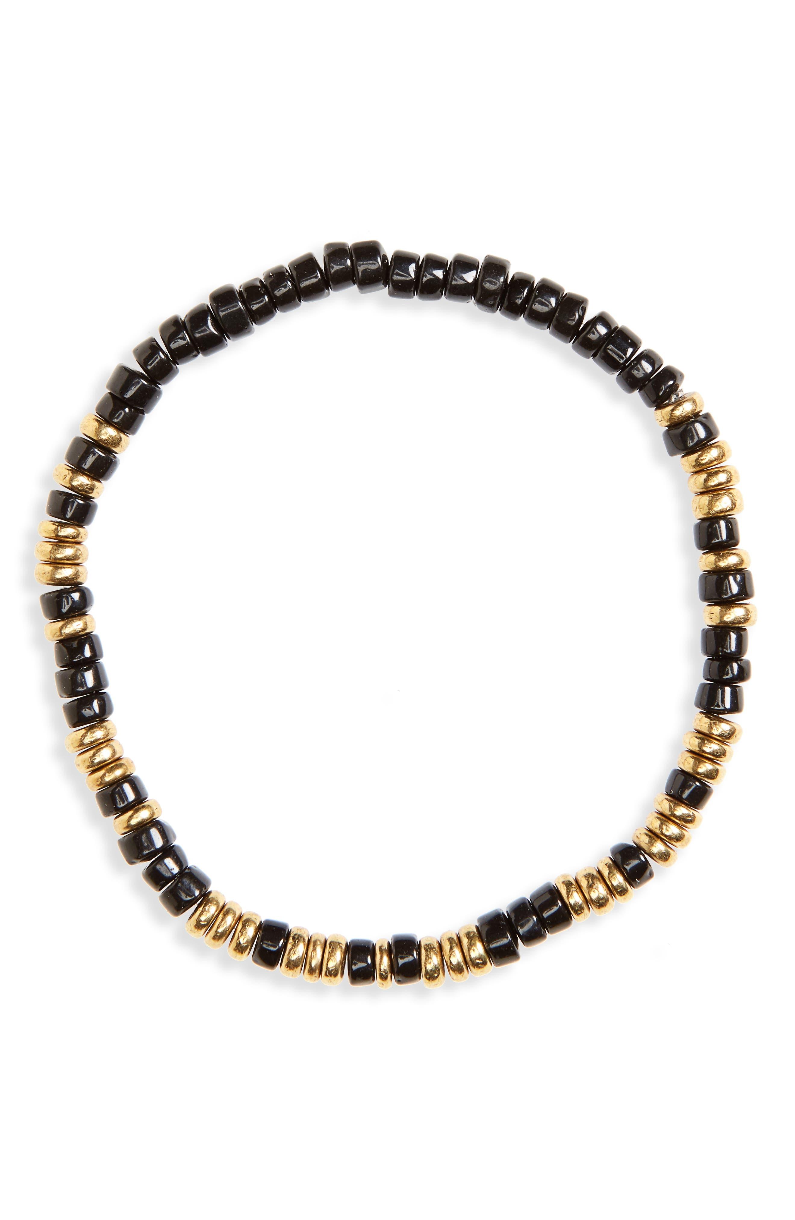 Loyal Morse Beaded Bracelet,                             Main thumbnail 1, color,                             Antique Gold/ Black