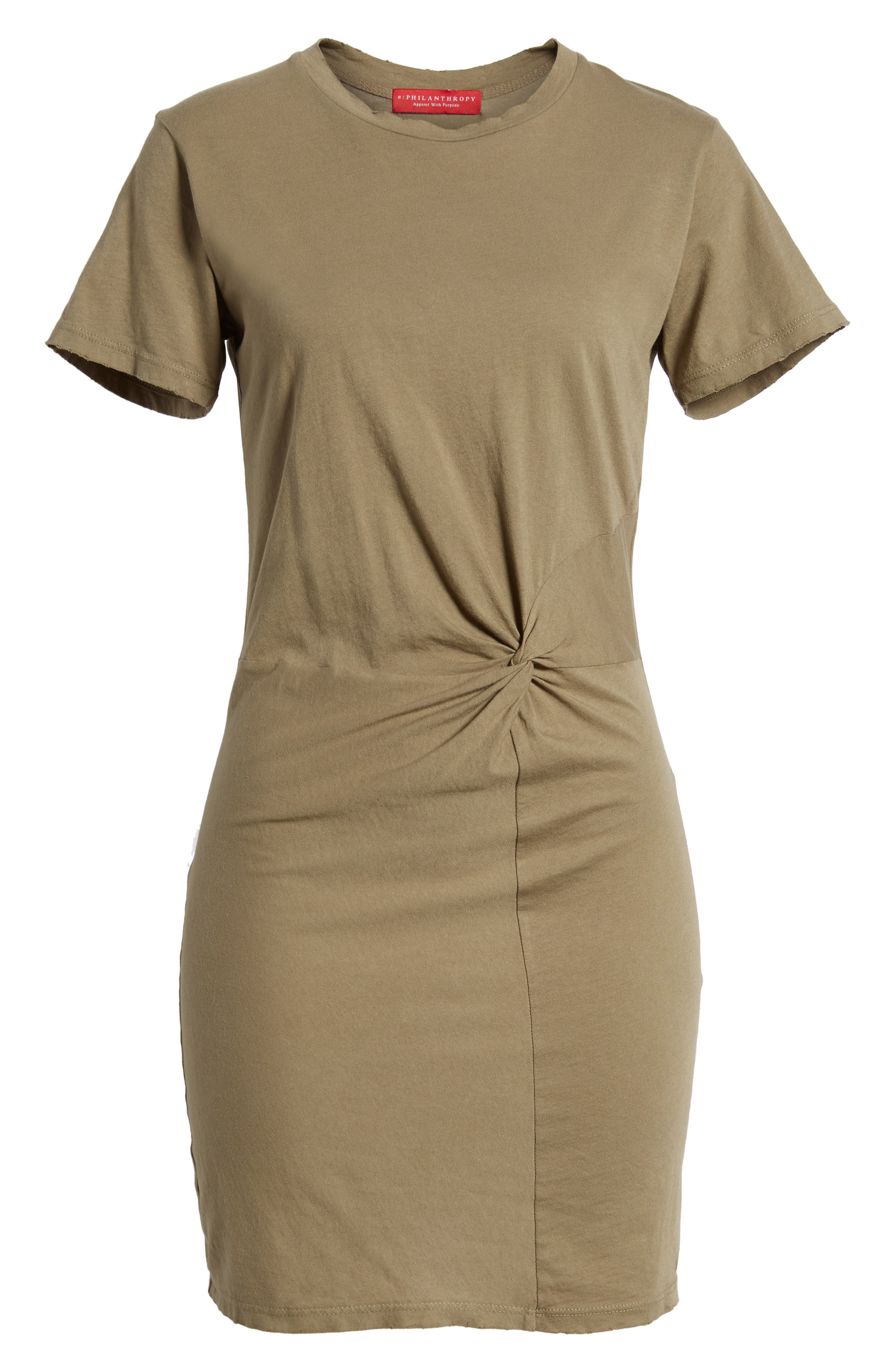 Jazz Knotted T-Shirt Dress,                             Alternate thumbnail 6, color,                             Army