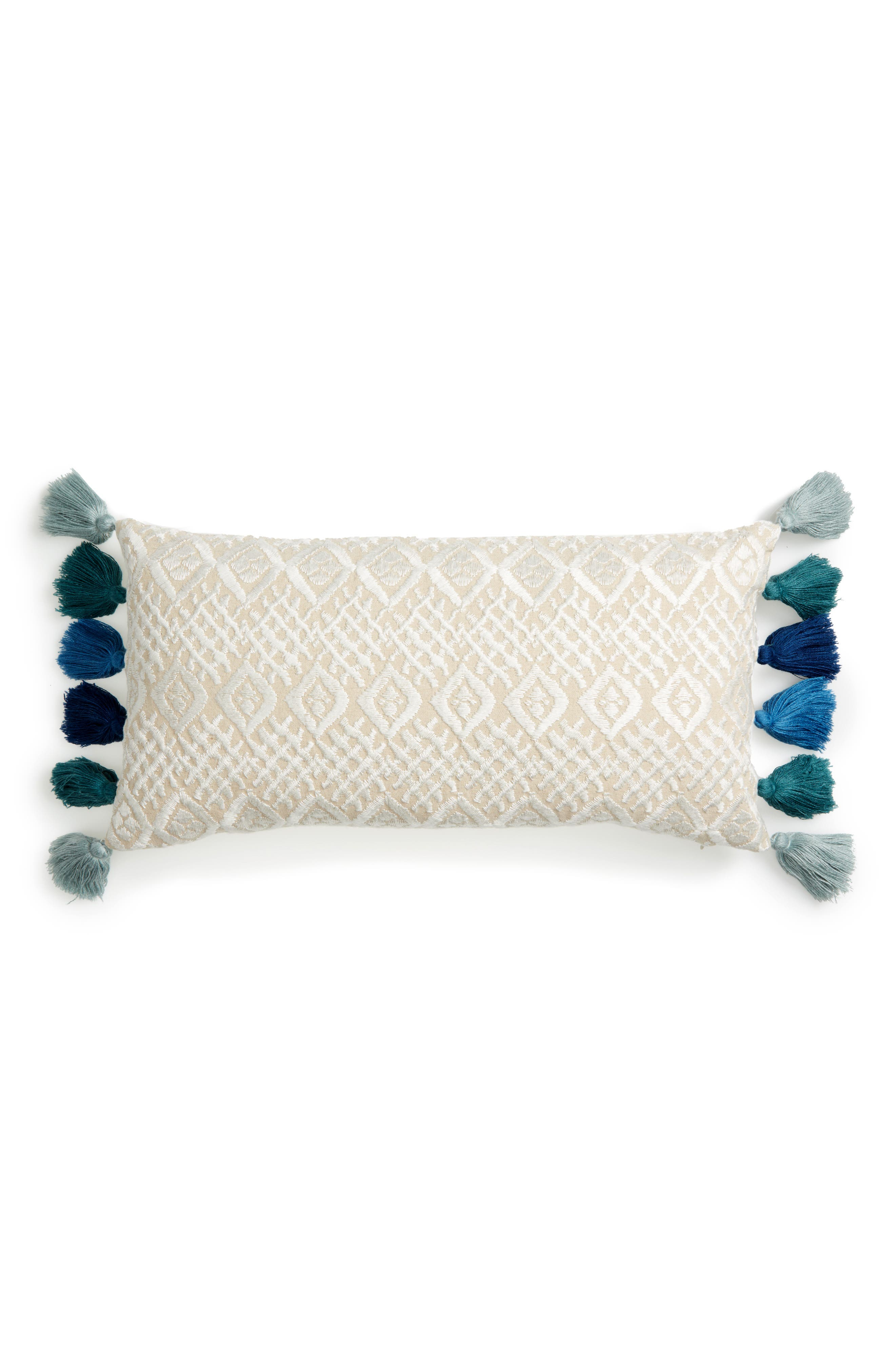 Beckett Embroidered Pillow,                         Main,                         color, Natural