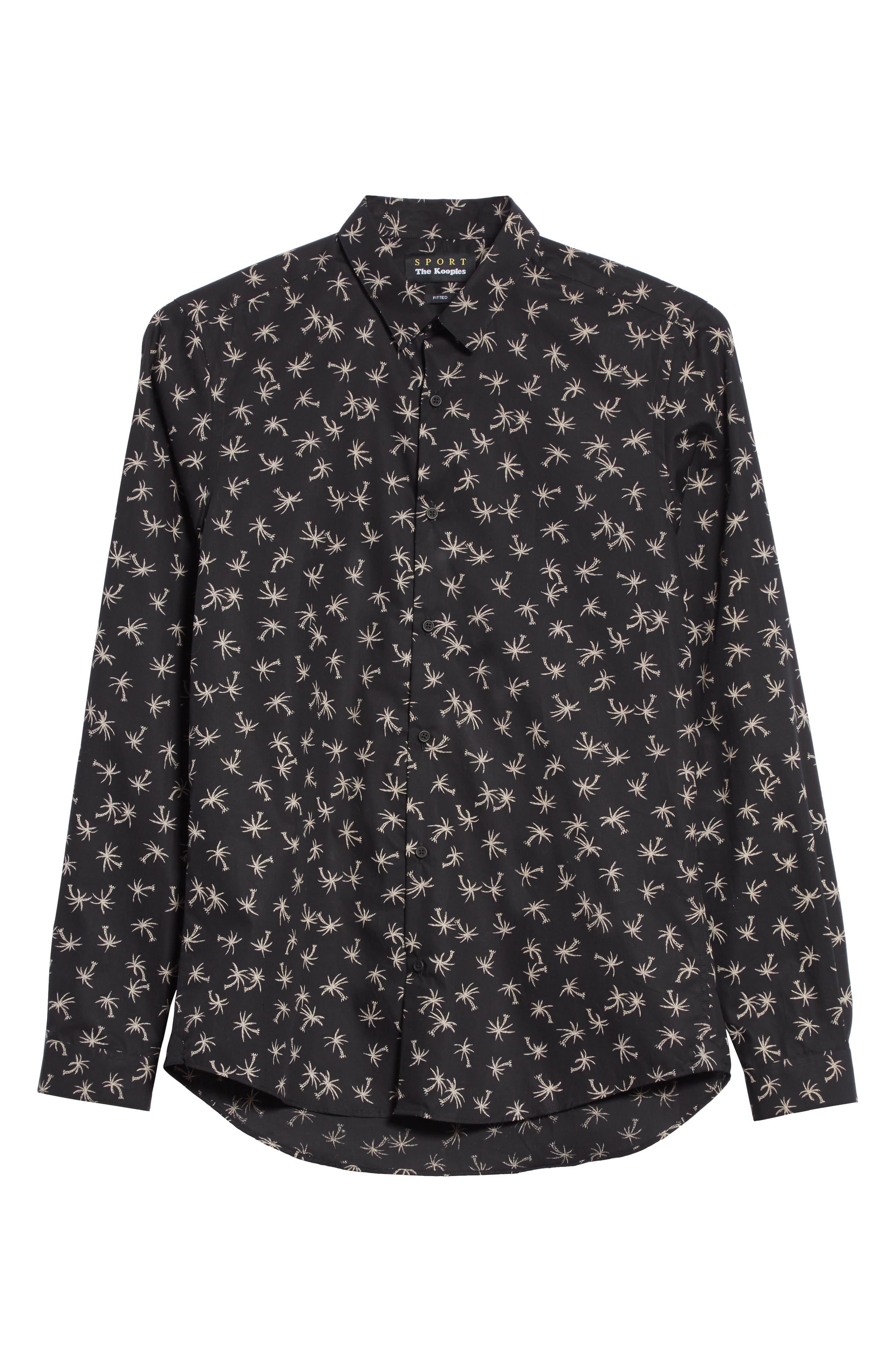 Palm Tree Print Woven Shirt,                             Alternate thumbnail 6, color,                             Black