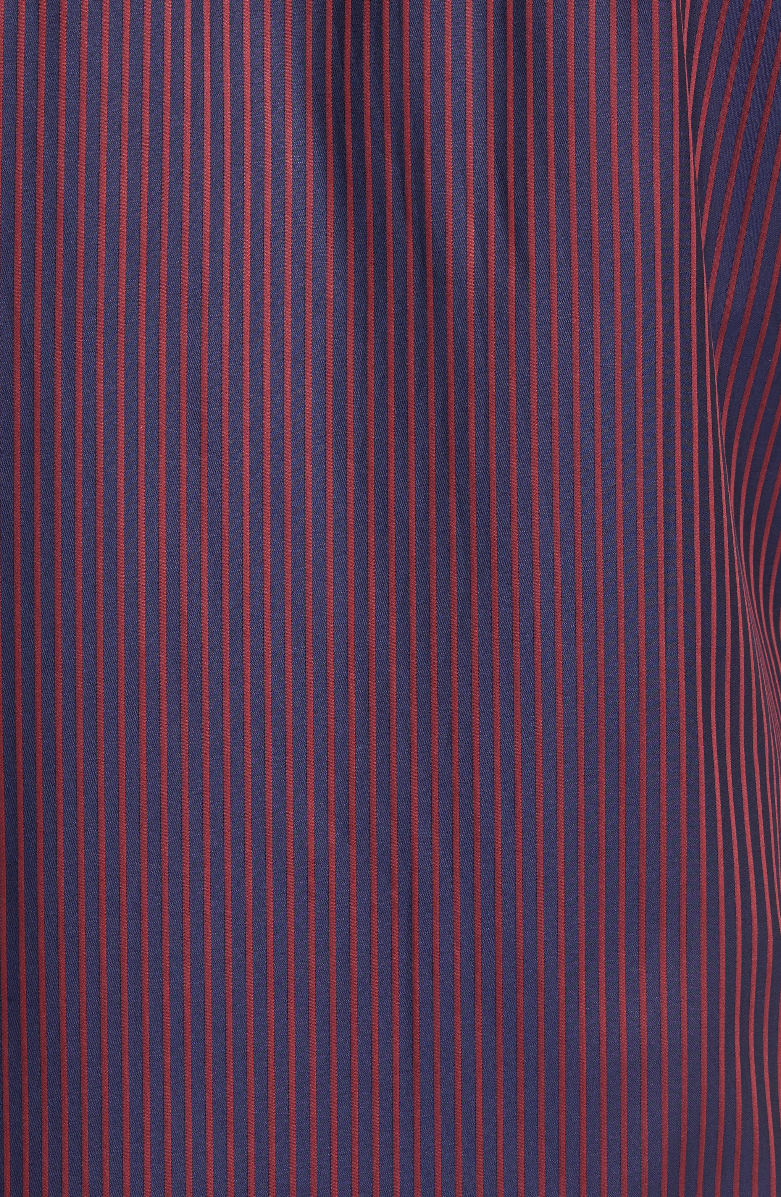 Shaped Fit Stripe Sport Shirt,                             Alternate thumbnail 5, color,                             Wine