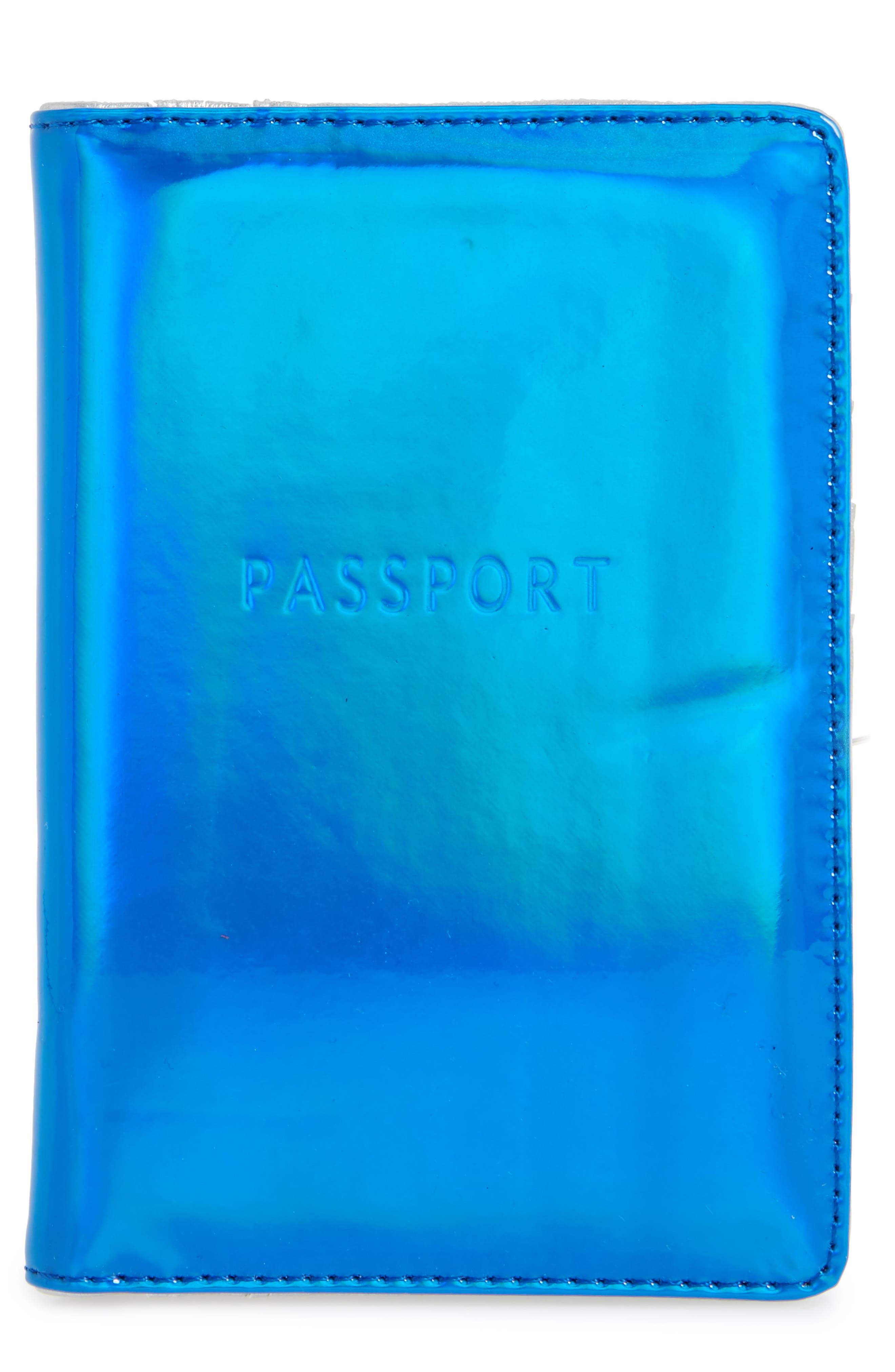 Passport Holder,                         Main,                         color, Blue/ Silver