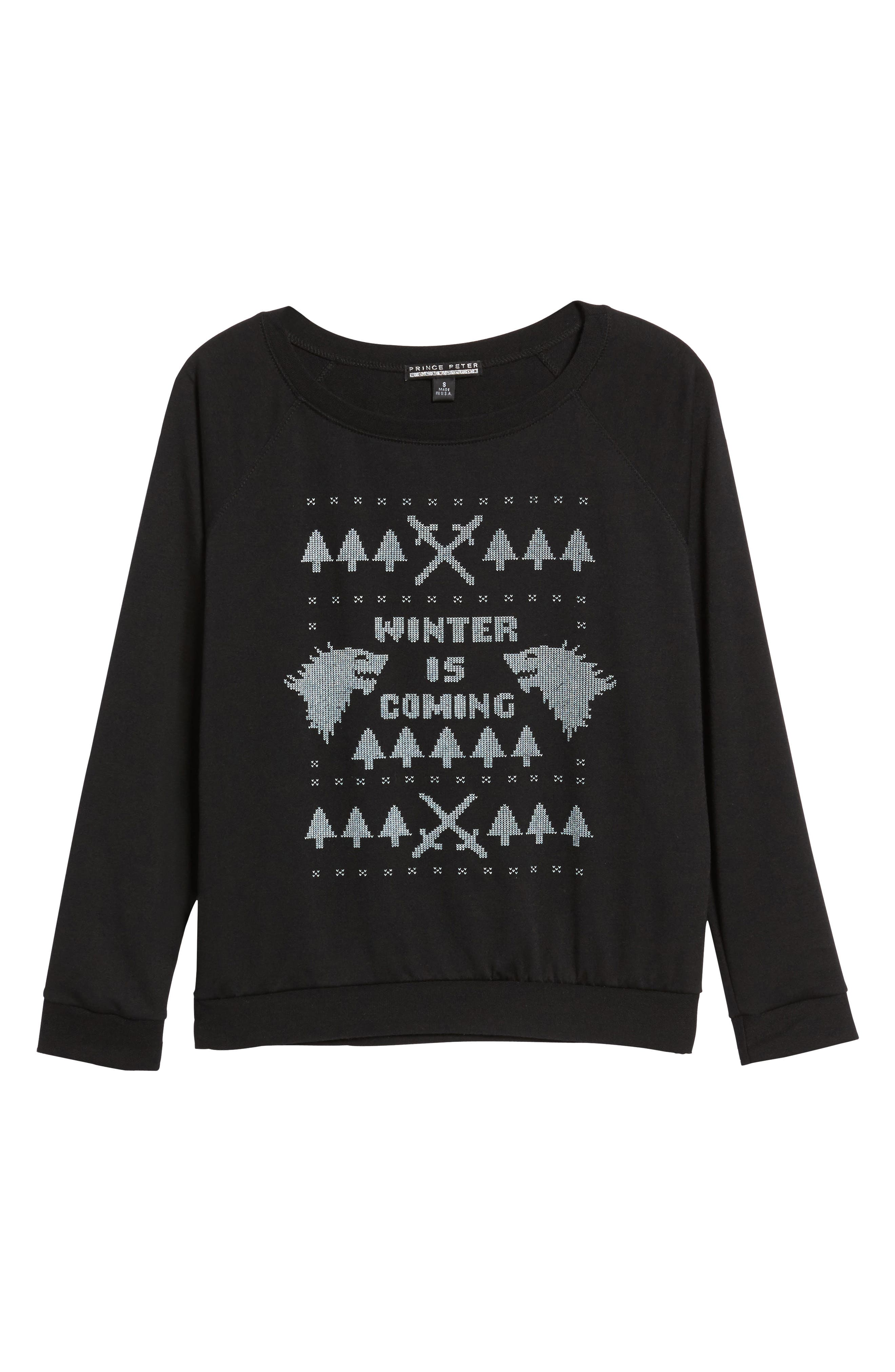 Winter Is Coming Sweatshirt,                             Alternate thumbnail 6, color,                             Black