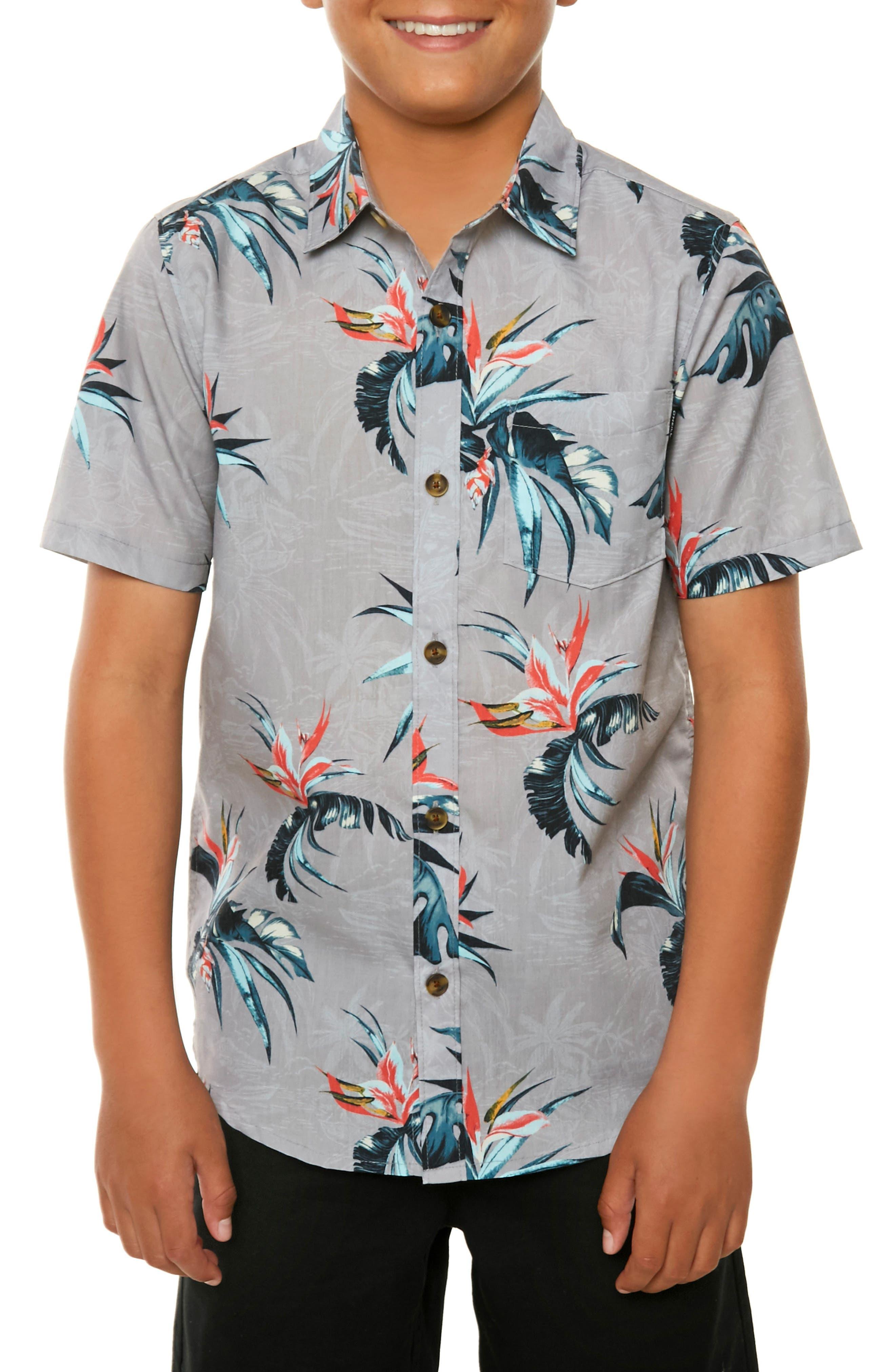 Islander Floral Print Woven Shirt,                         Main,                         color, Light Grey