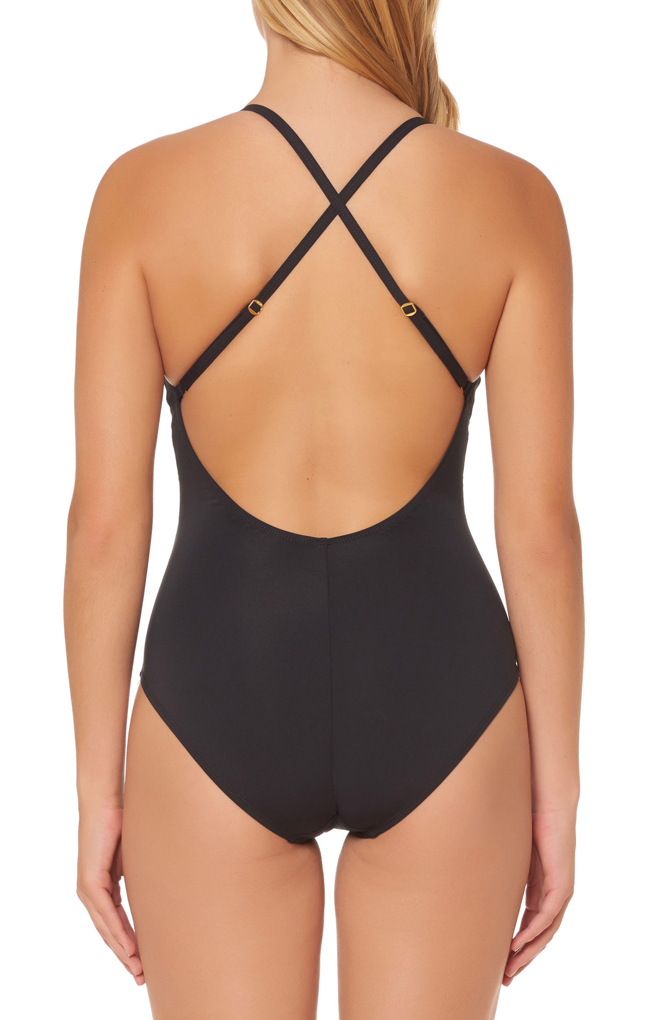 BLEU by Rod Beattie Mesh Inset One-Piece Swimsuit,                             Alternate thumbnail 2, color,                             Black