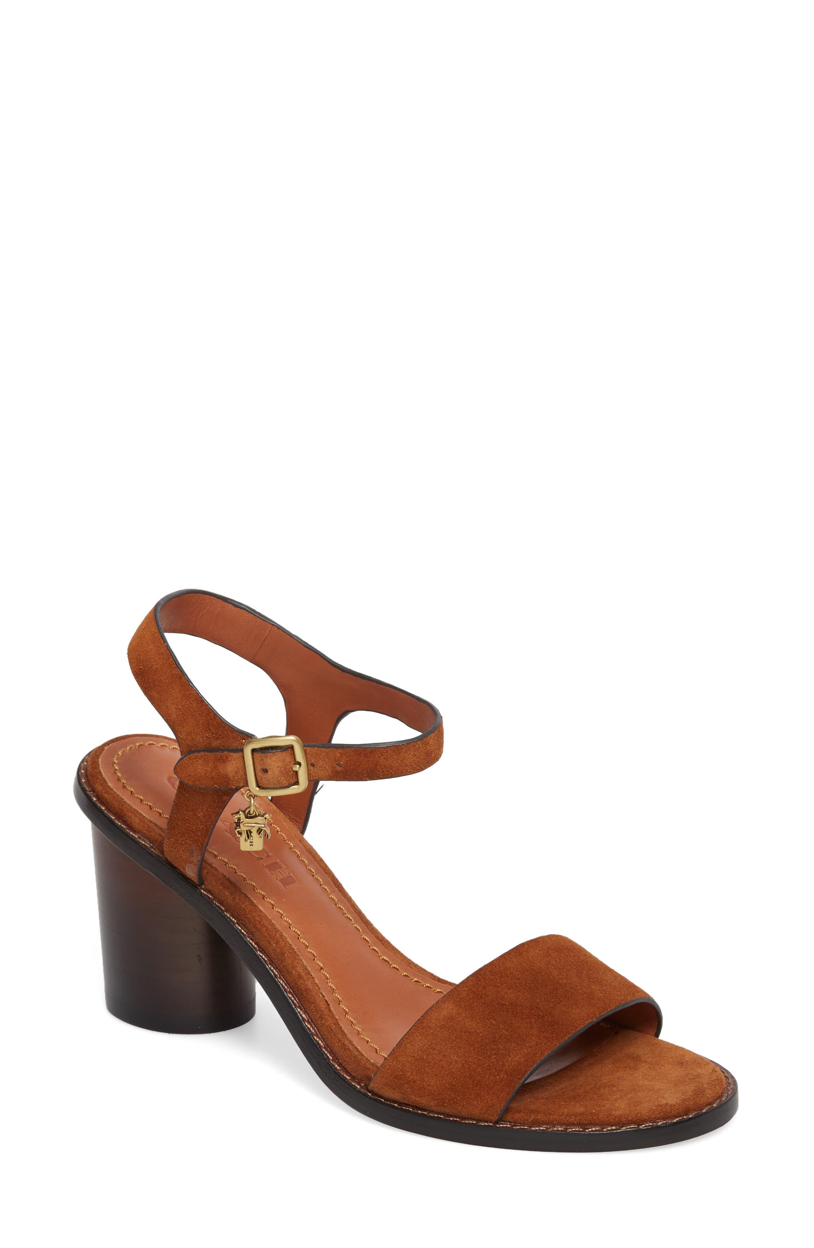 Column Heel Sandal,                         Main,                         color, Saddle Suede