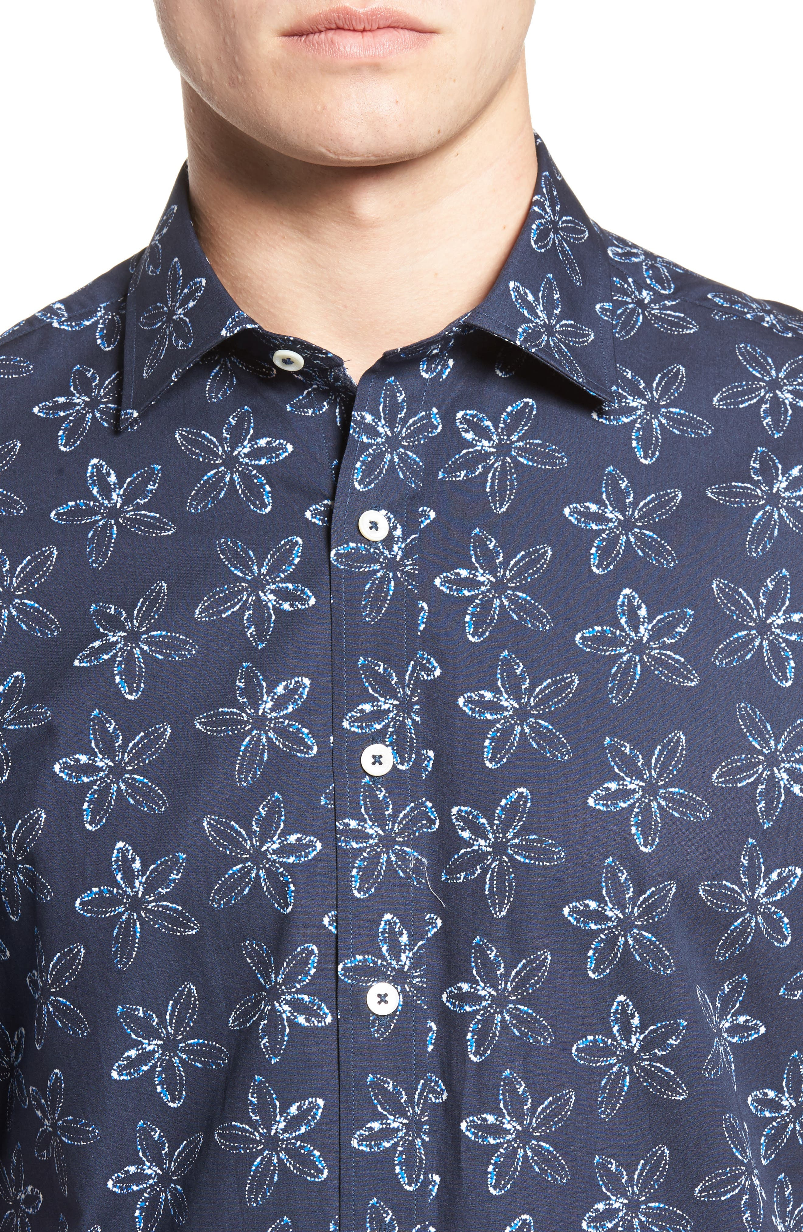 Classic Fit Print Sport Shirt,                             Alternate thumbnail 4, color,                             Midnight