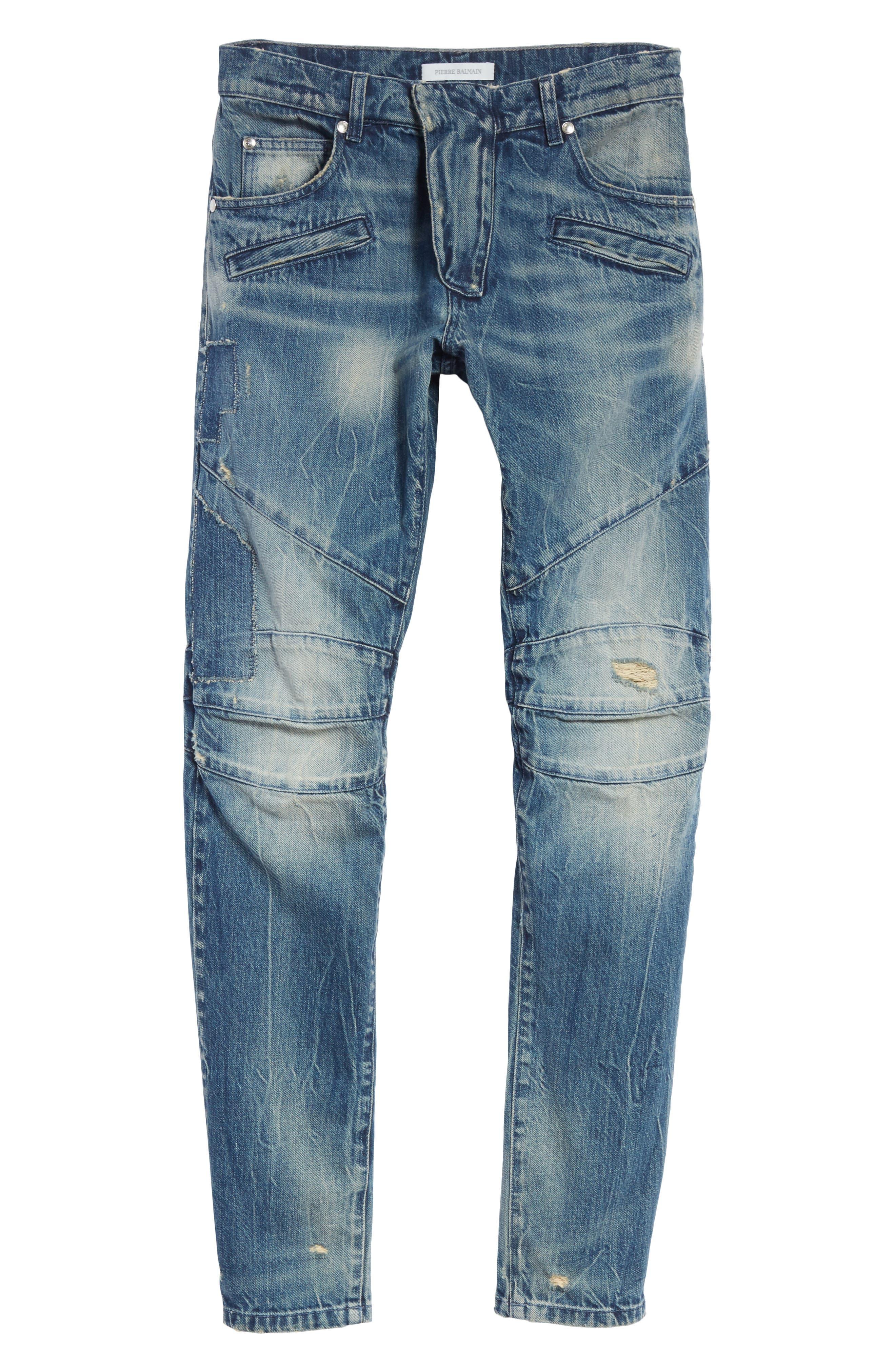 Biker Jeans,                             Alternate thumbnail 6, color,                             Denim Blue