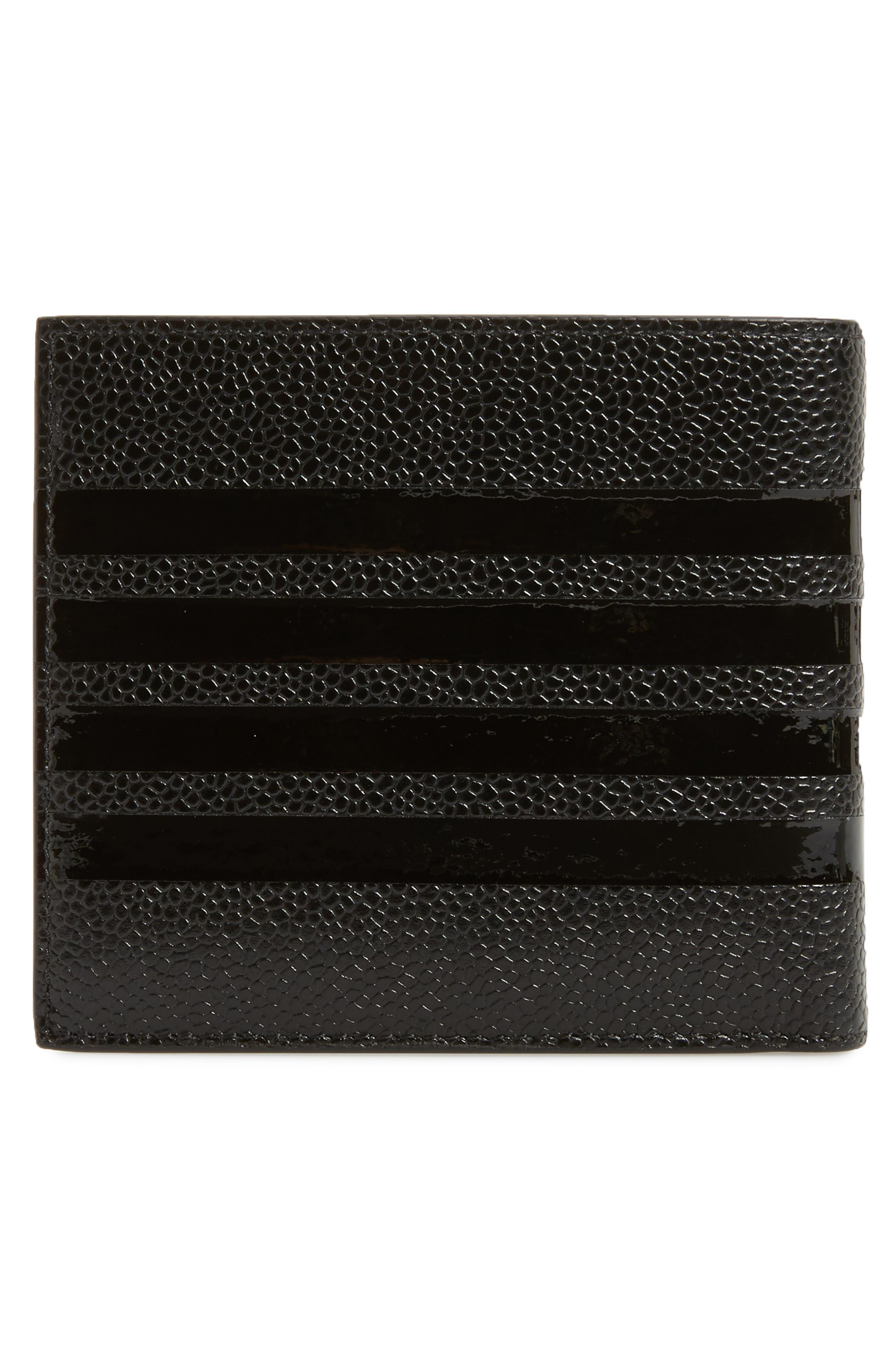 Patent Leather Bifold Wallet,                             Alternate thumbnail 3, color,                             Black