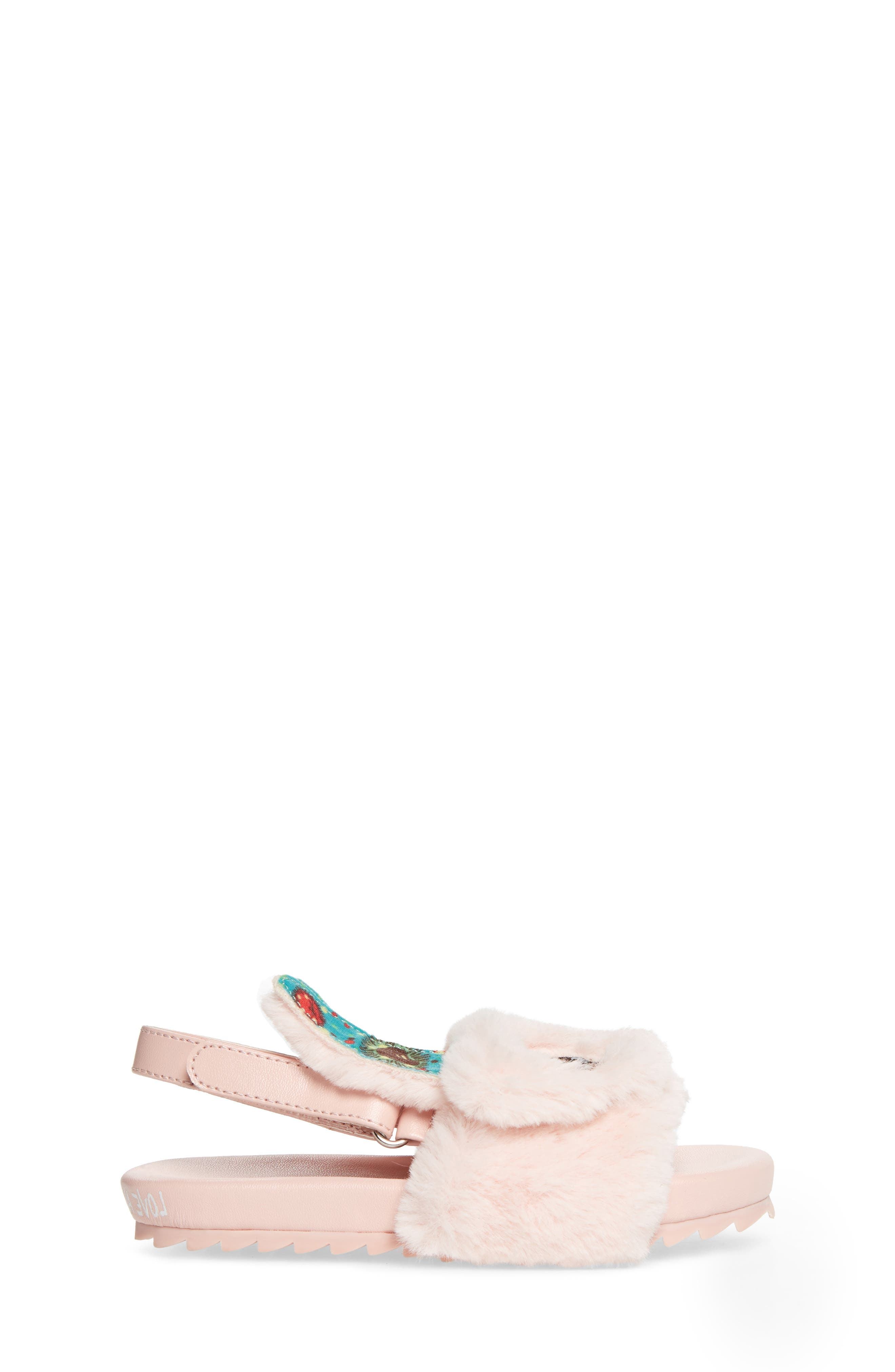 Alternate Image 3  - WellieWishers from American Girl Willa Carrot Faux Fur Strap Slide Sandal (Walker & Toddler)