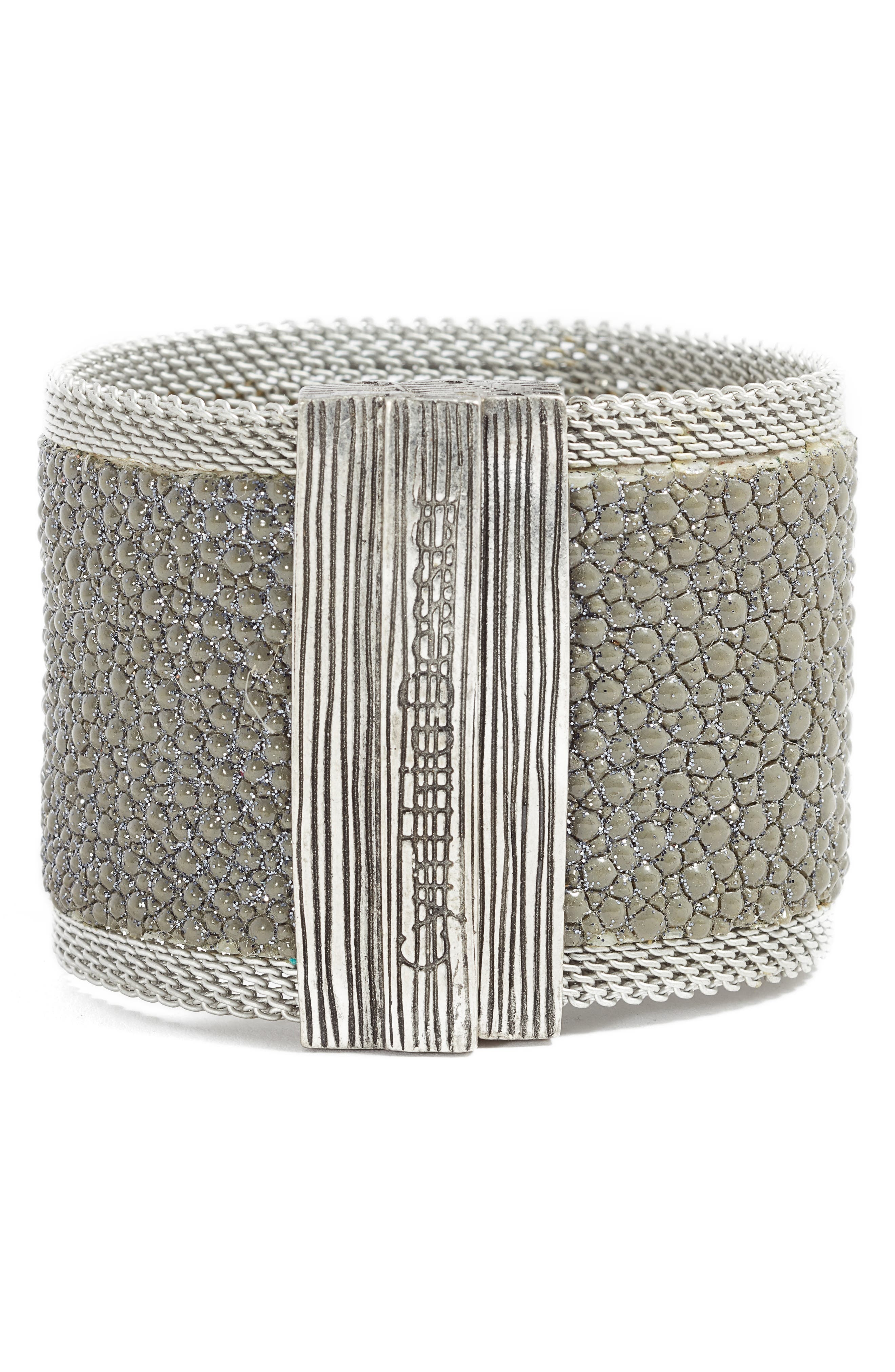 Wide Shimmer Stingray Bracelet,                             Alternate thumbnail 3, color,                             Grey/ Silver