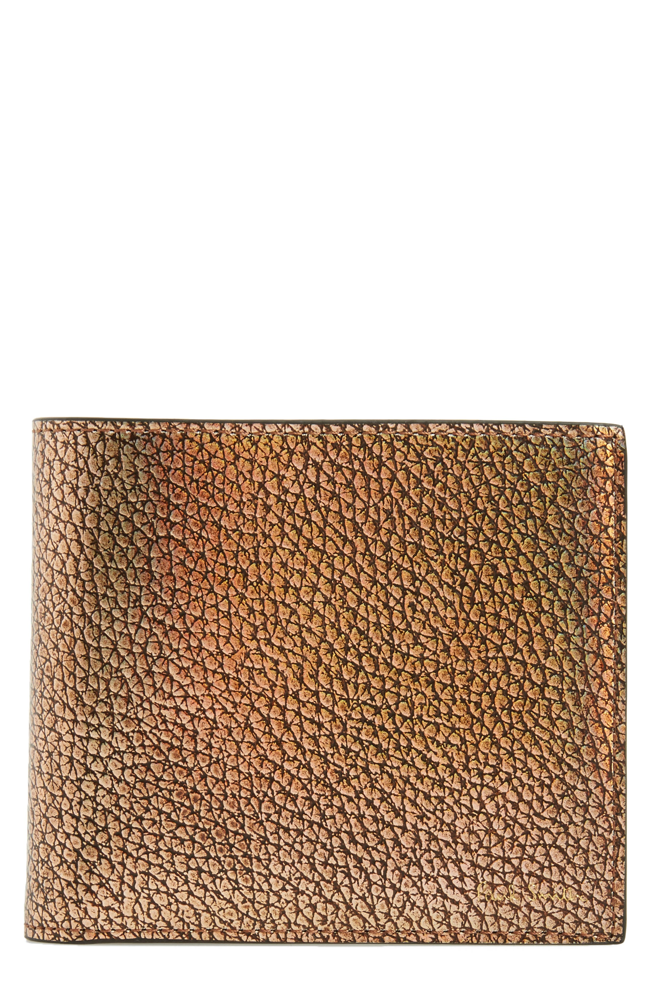 Metallic Leather Wallet,                         Main,                         color, Gold