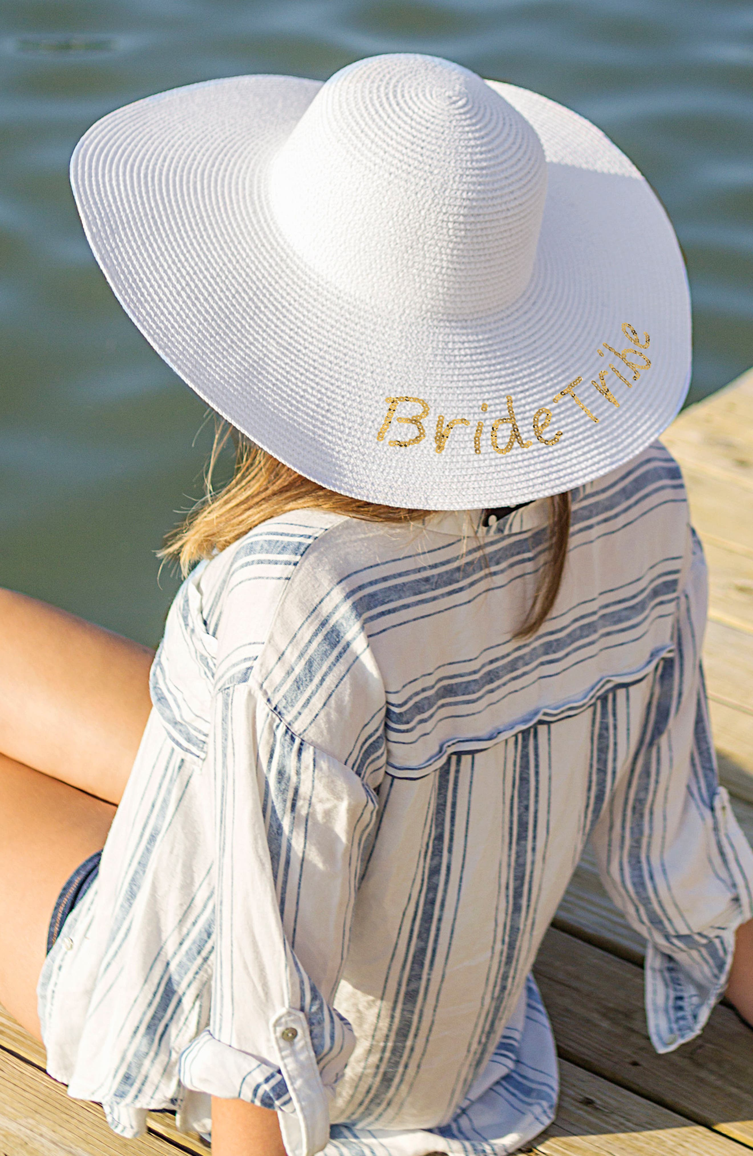 Sequin Bride Tribe Straw Hat,                             Alternate thumbnail 2, color,                             Gold