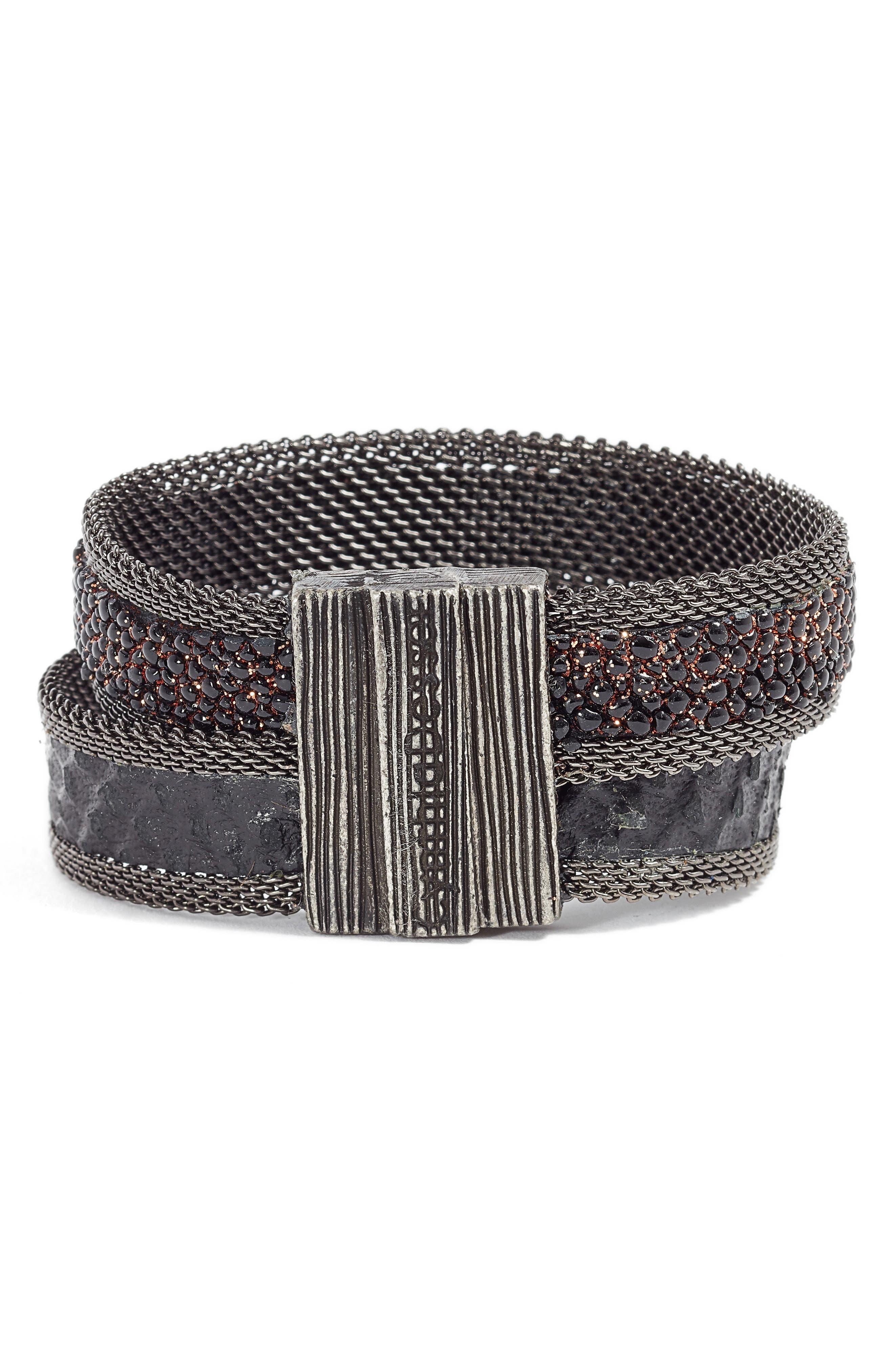 Shimmer Stingray & Snakeskin Bracelet,                             Alternate thumbnail 3, color,                             Black/ Copper/ Gun Metal