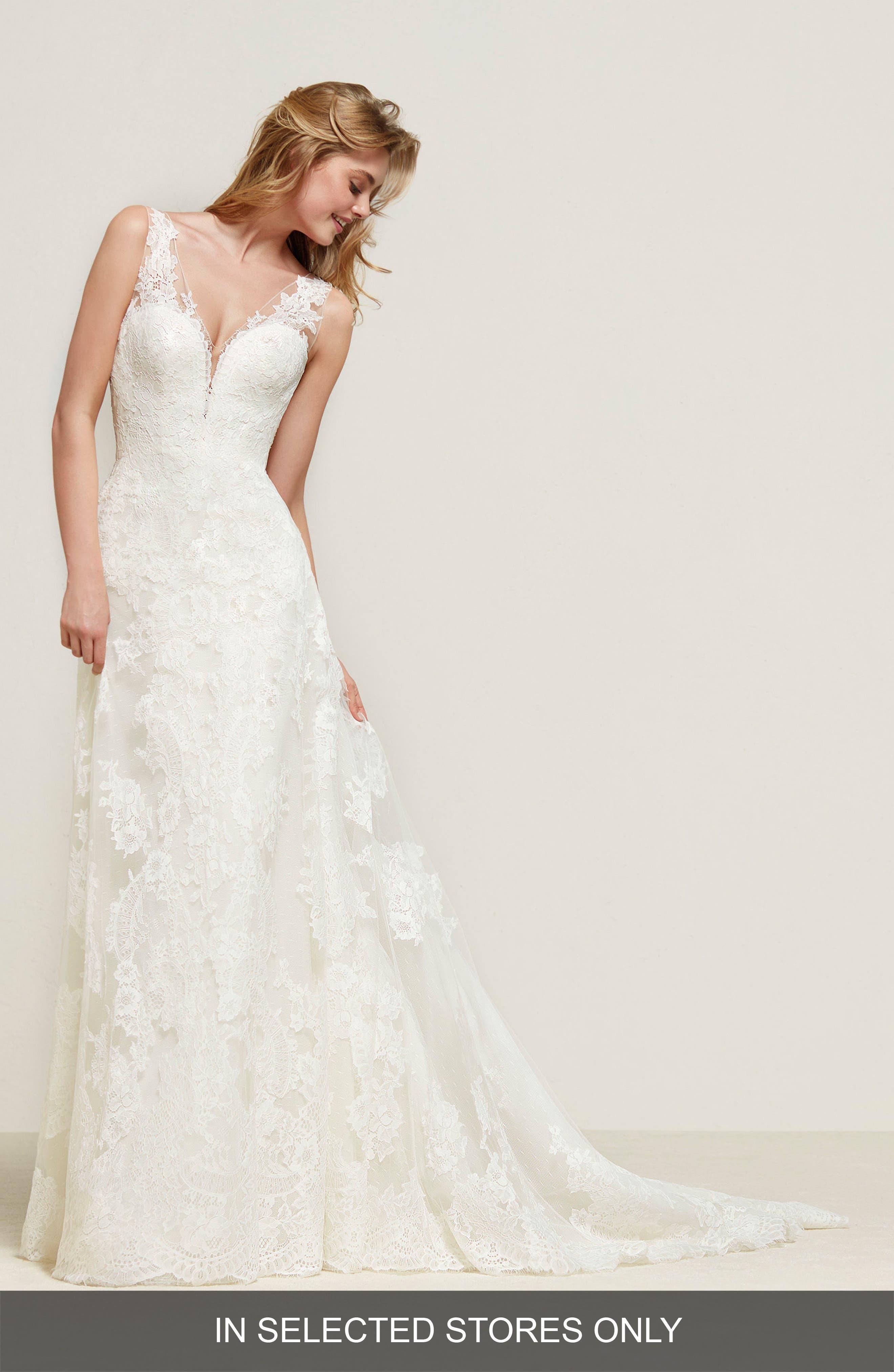 Drulias V-Neck Lace A-Line Gown,                             Main thumbnail 1, color,                             Off White
