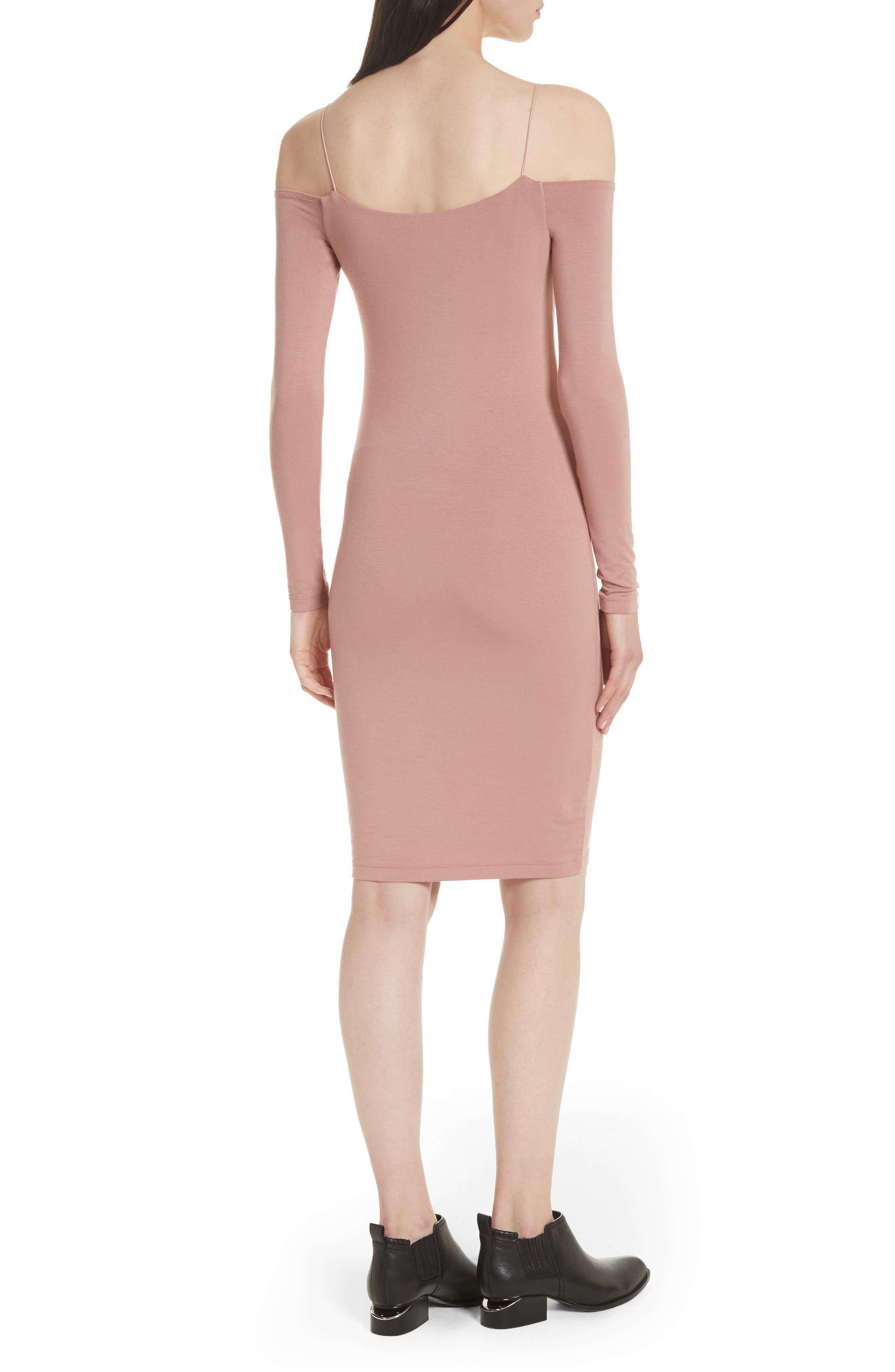 Stretch Jersey Cold Shoulder Dress,                             Alternate thumbnail 2, color,                             Guava