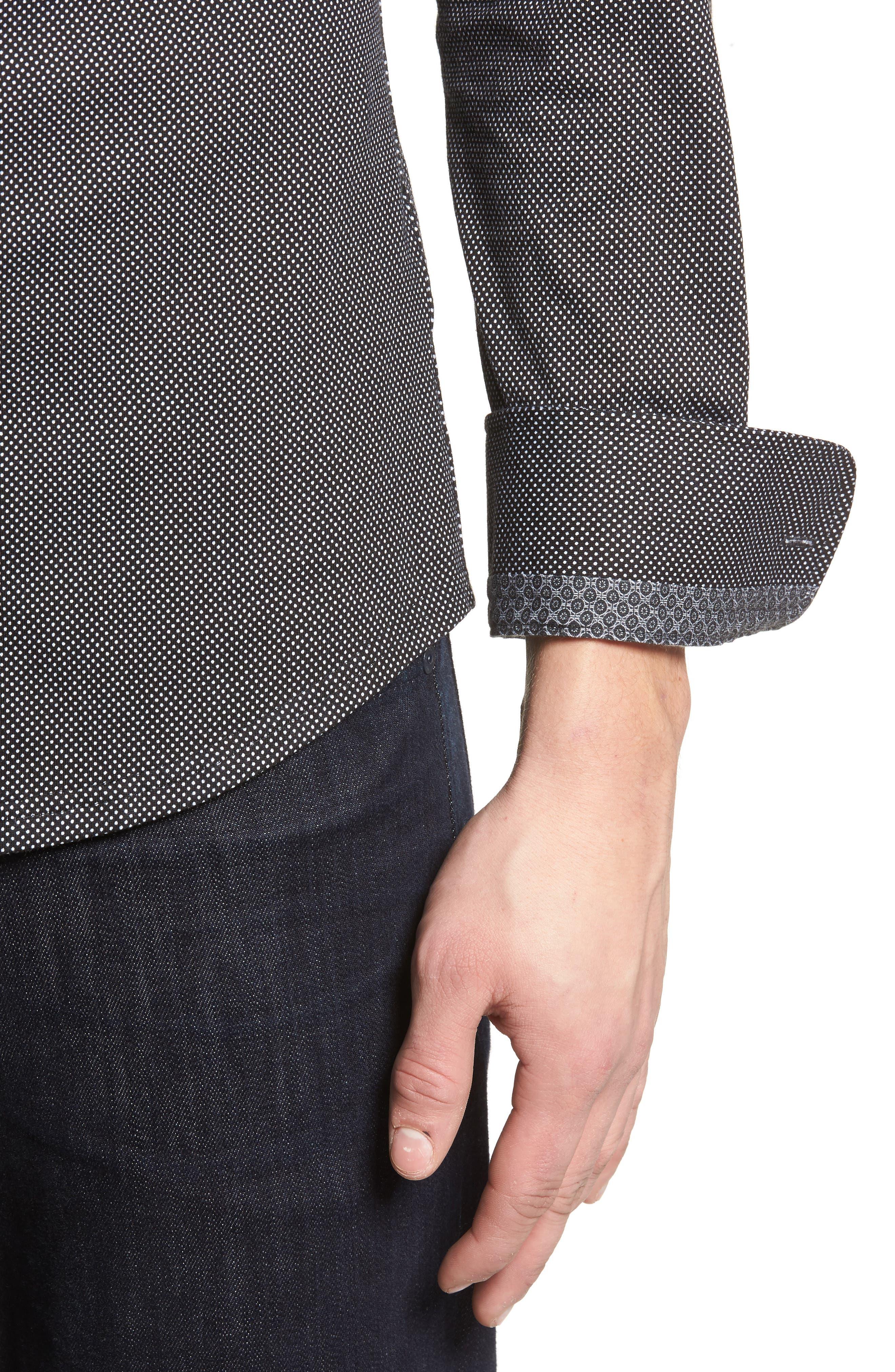 Slim Fit Micro Dot Knit Sport Shirt,                             Alternate thumbnail 2, color,                             Black