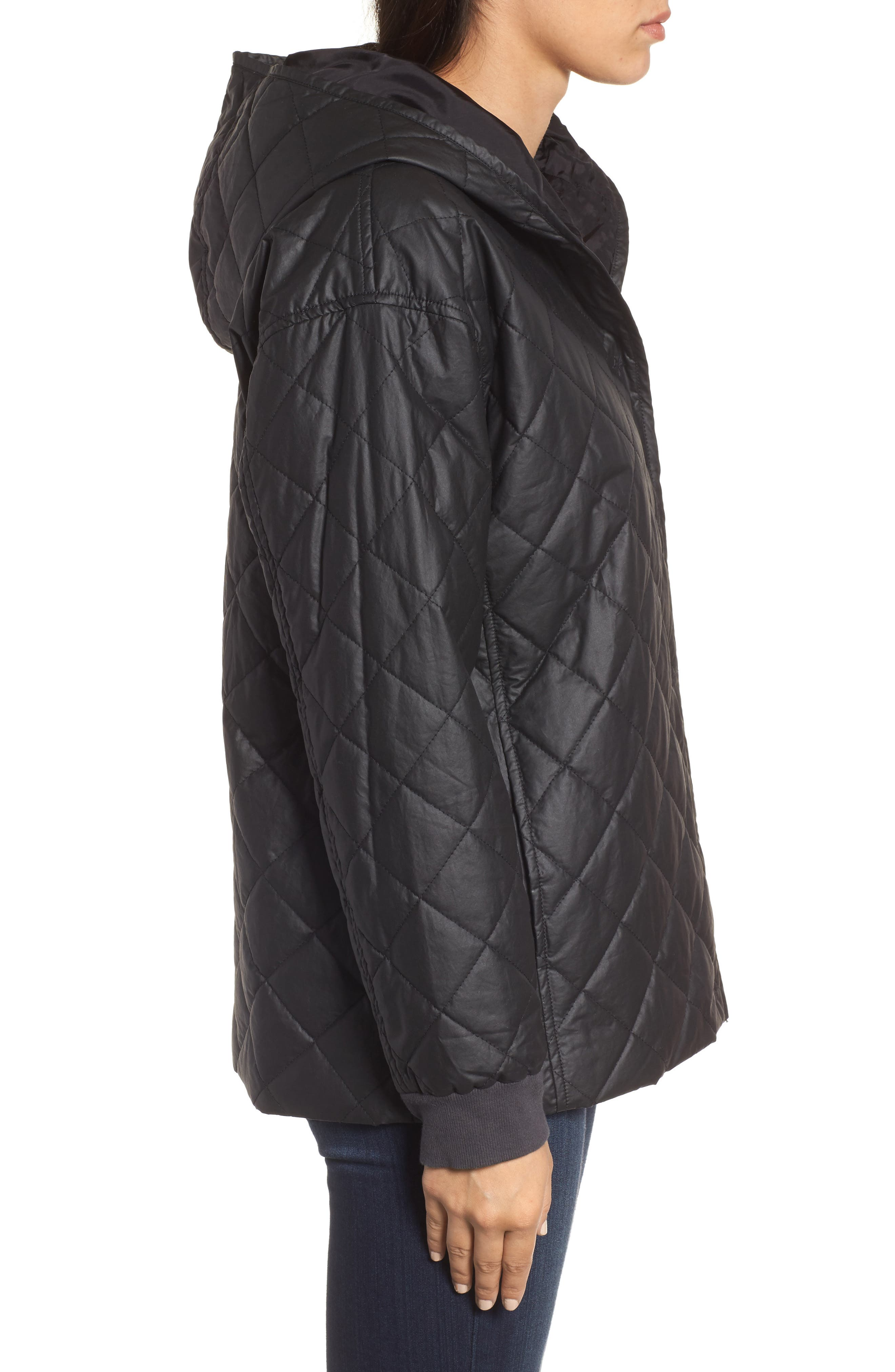 Quilted Hooded Jacket,                             Alternate thumbnail 3, color,                             Black