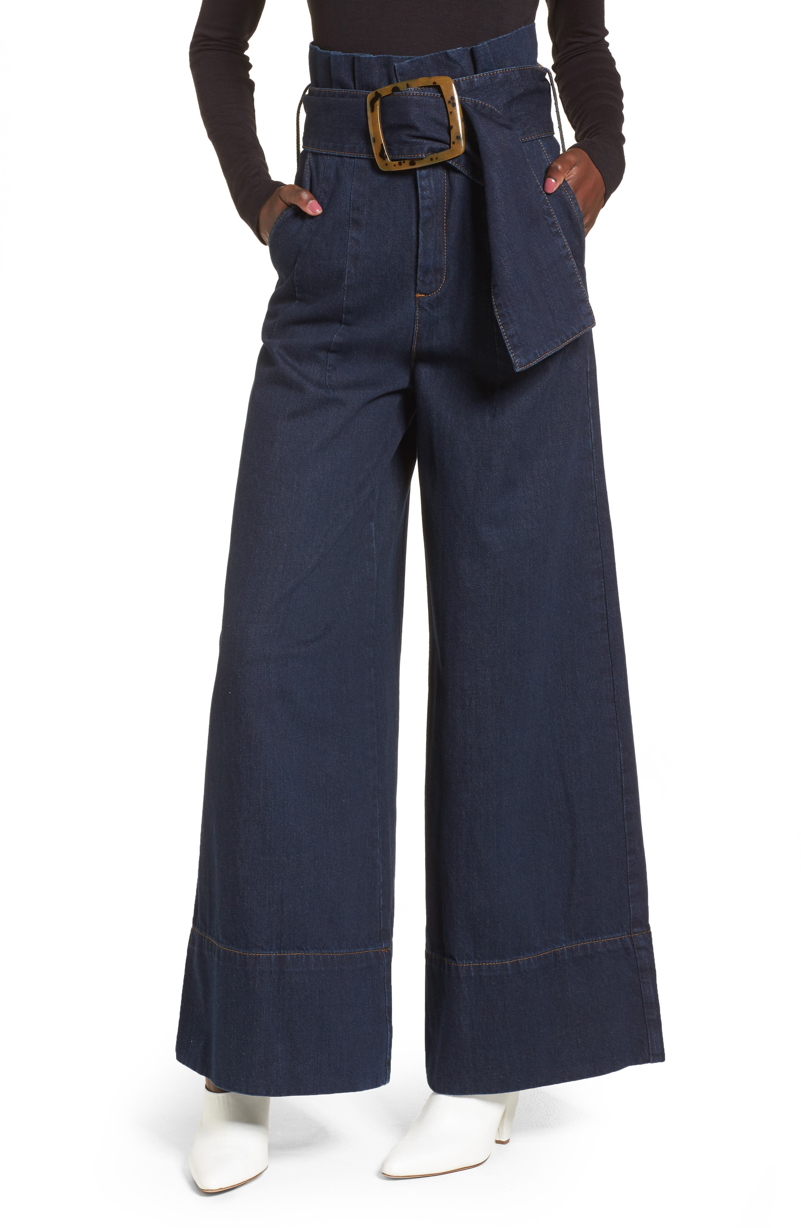 Topshop Boutique Belted Paperbag Flared Jeans