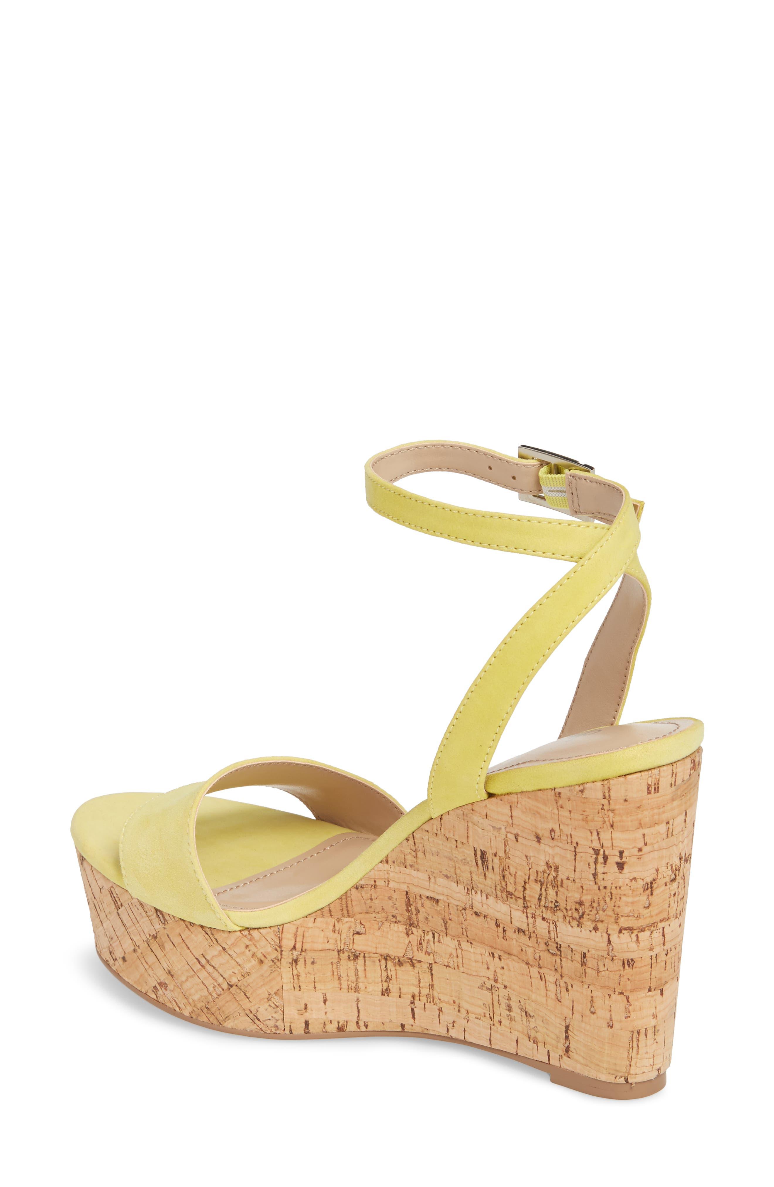 Lilla Platform Wedge Sandal,                             Alternate thumbnail 2, color,                             Yellow Suede