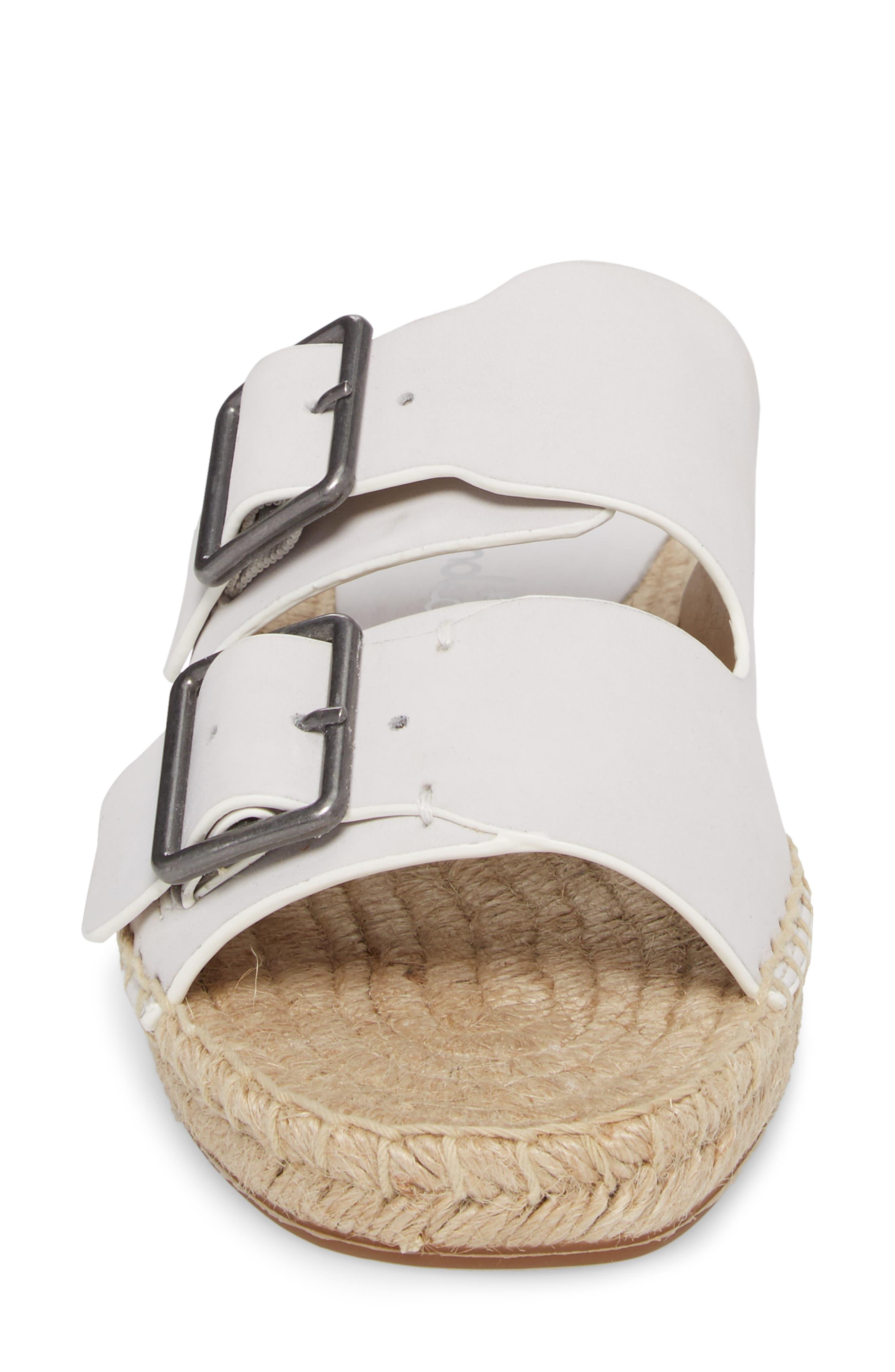 Blake Buckle Espadrille Sandal,                             Alternate thumbnail 4, color,                             White Leather