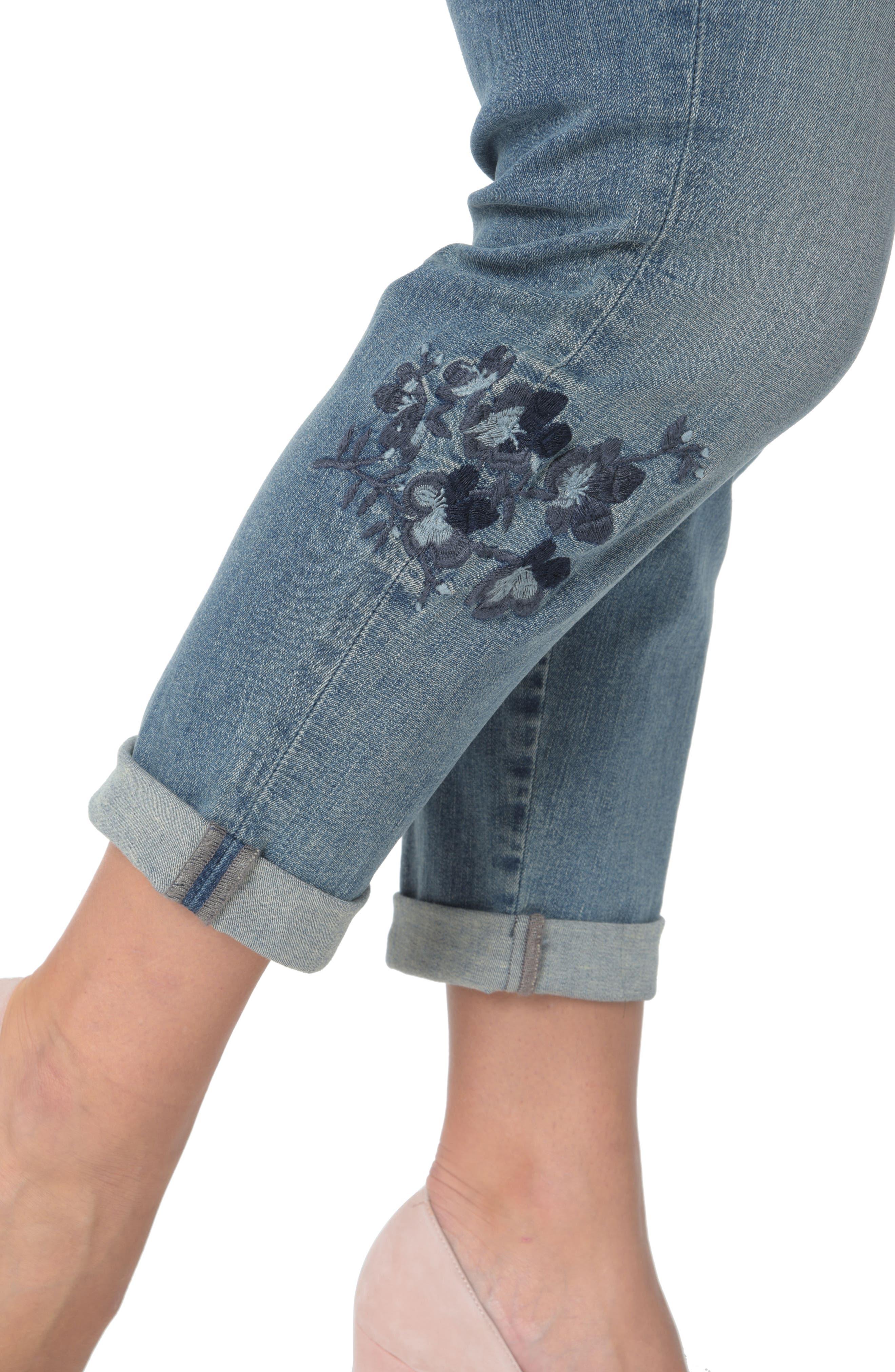 Alternate Image 4  - NYDJ Floral Embroidery Boyfriend Jeans (Pacific) (Plus Size)