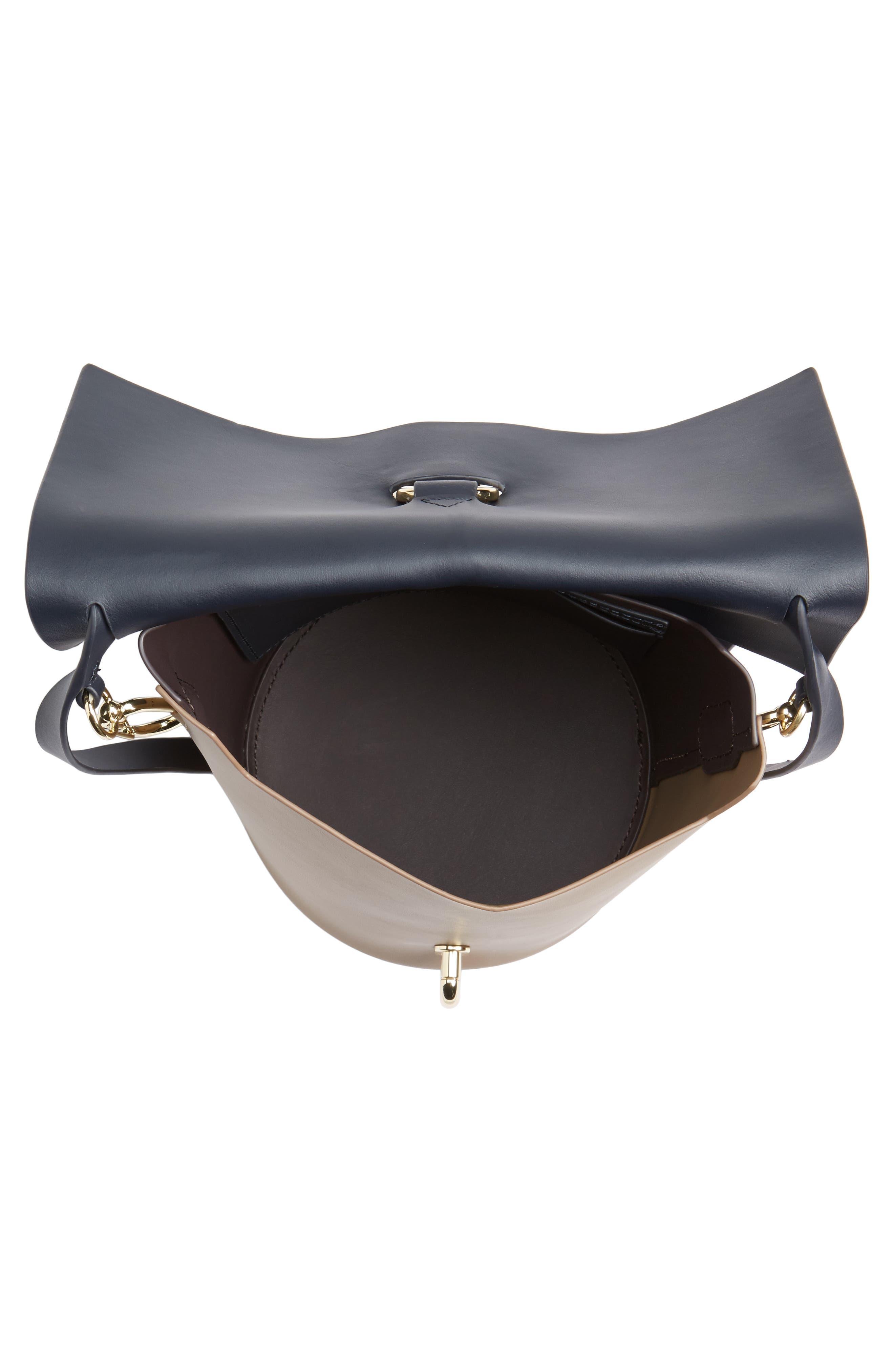 Belay Colorblock Calfskin Leather Crossbody Bucket Bag,                             Alternate thumbnail 4, color,                             Navy