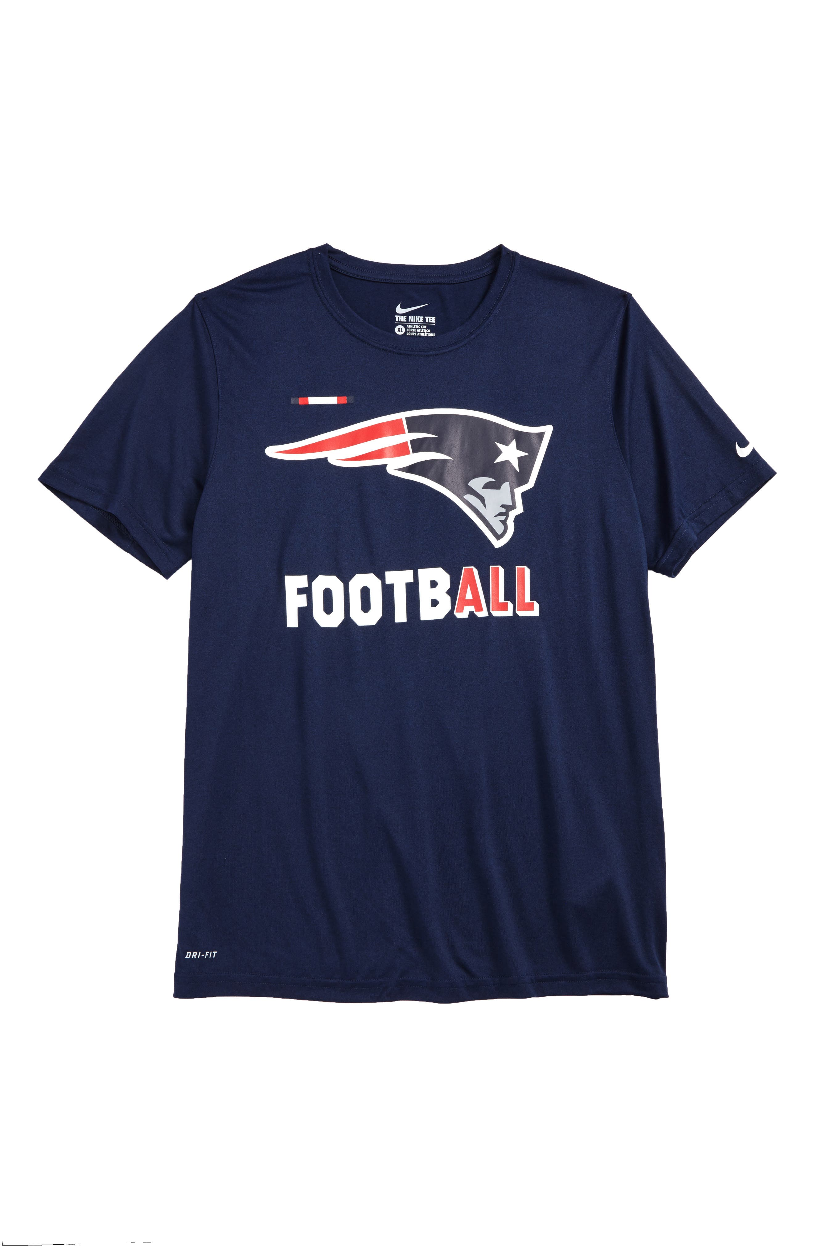 Nike NFL - New England Patriots Dry T-Shirt,                             Main thumbnail 1, color,                             College Navy