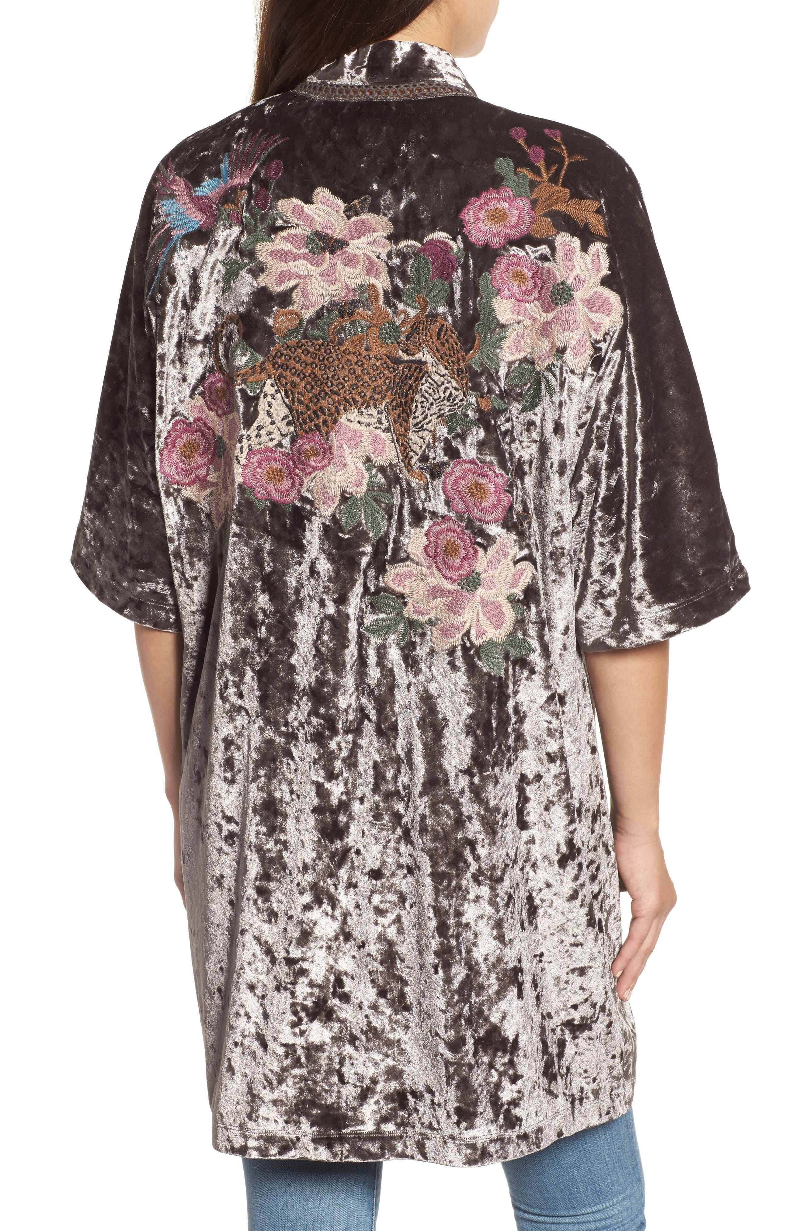 Embroidered Velvet Kimono Jacket,                             Alternate thumbnail 2, color,                             Smoke