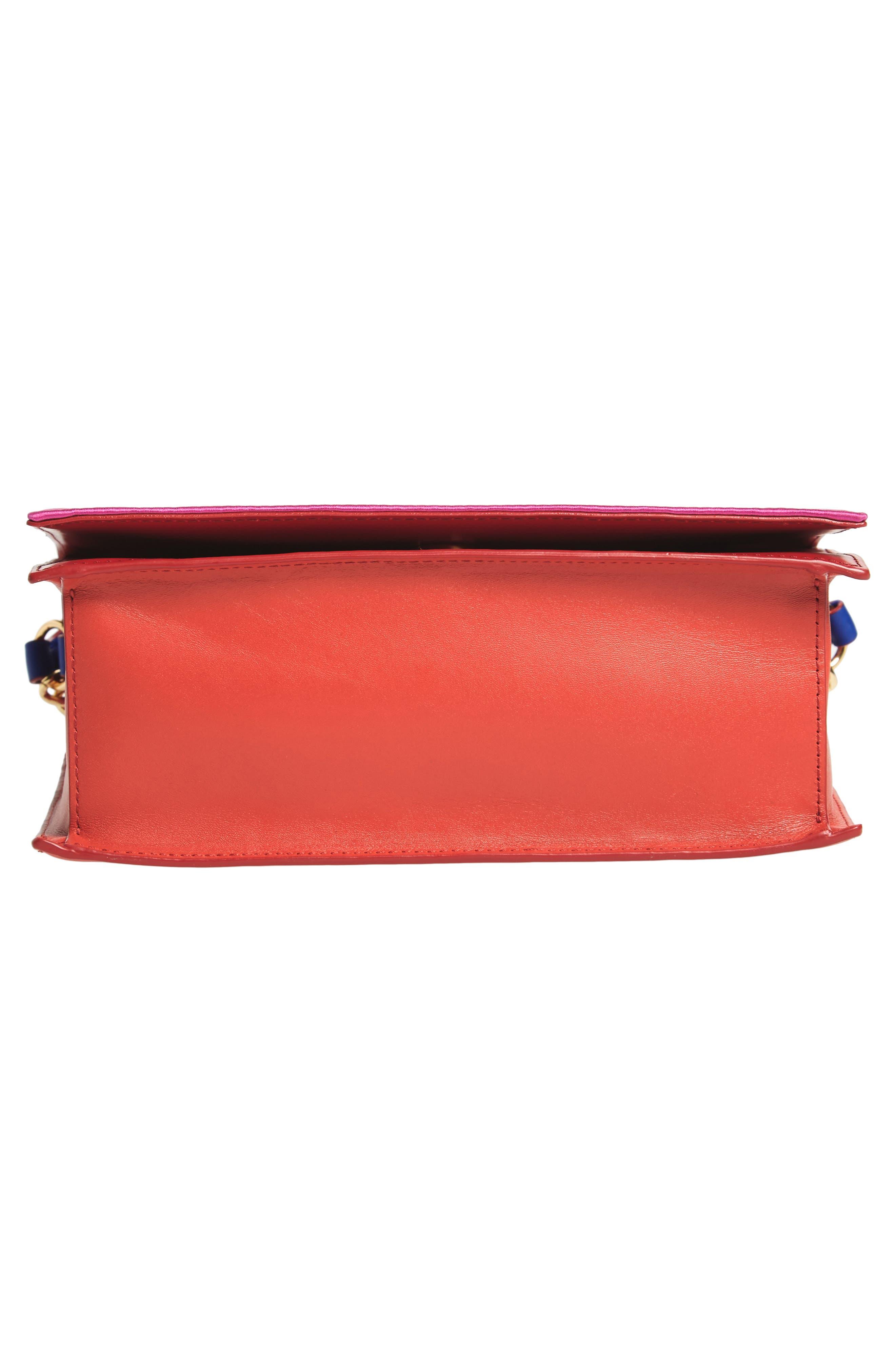 Soirée Satin & Leather Top Handle Bag,                             Alternate thumbnail 6, color,                             Pink