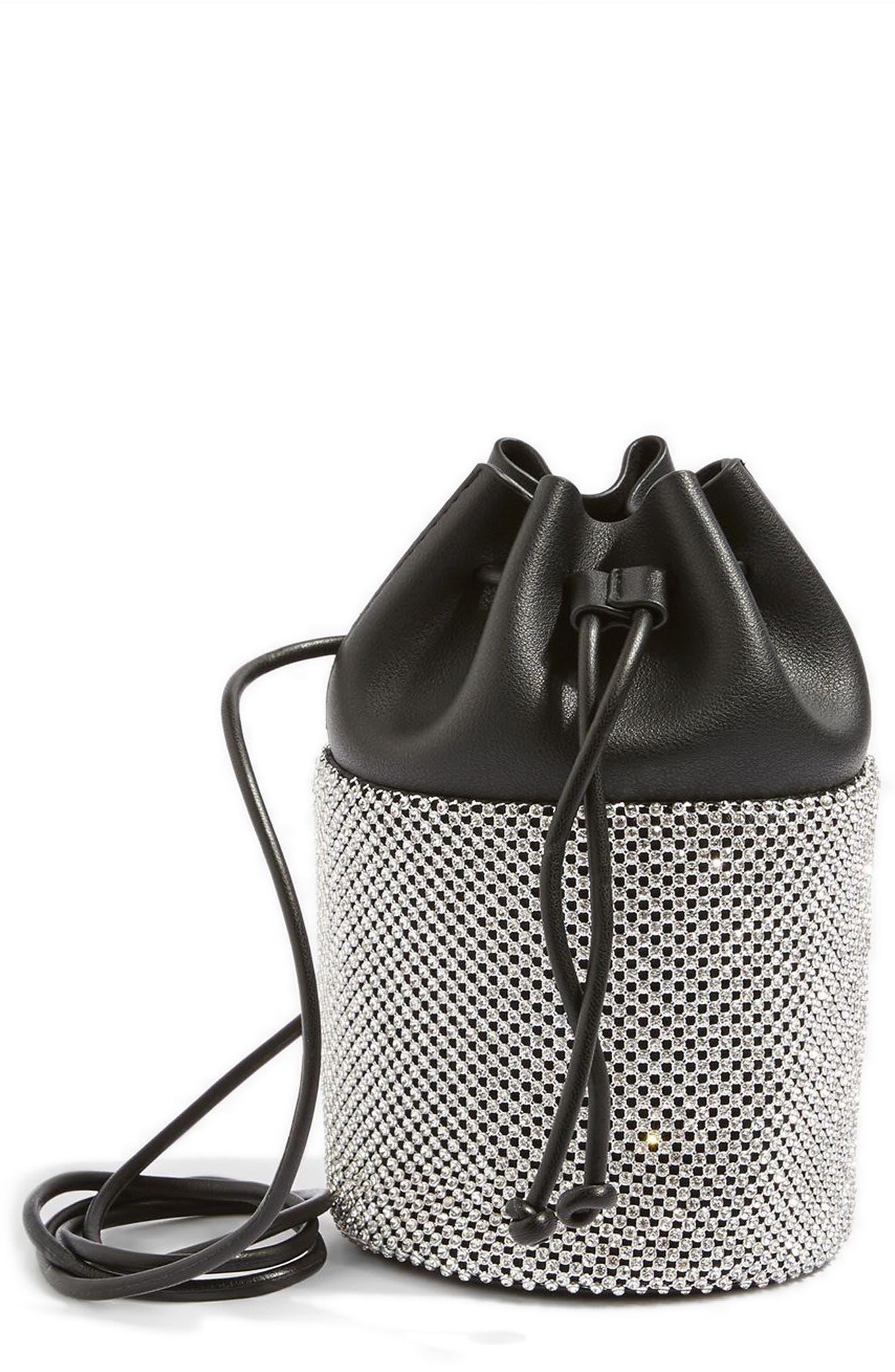 Main Image - Topshop Ruben Diamante Faux Leather Bucket Crossbody Bag