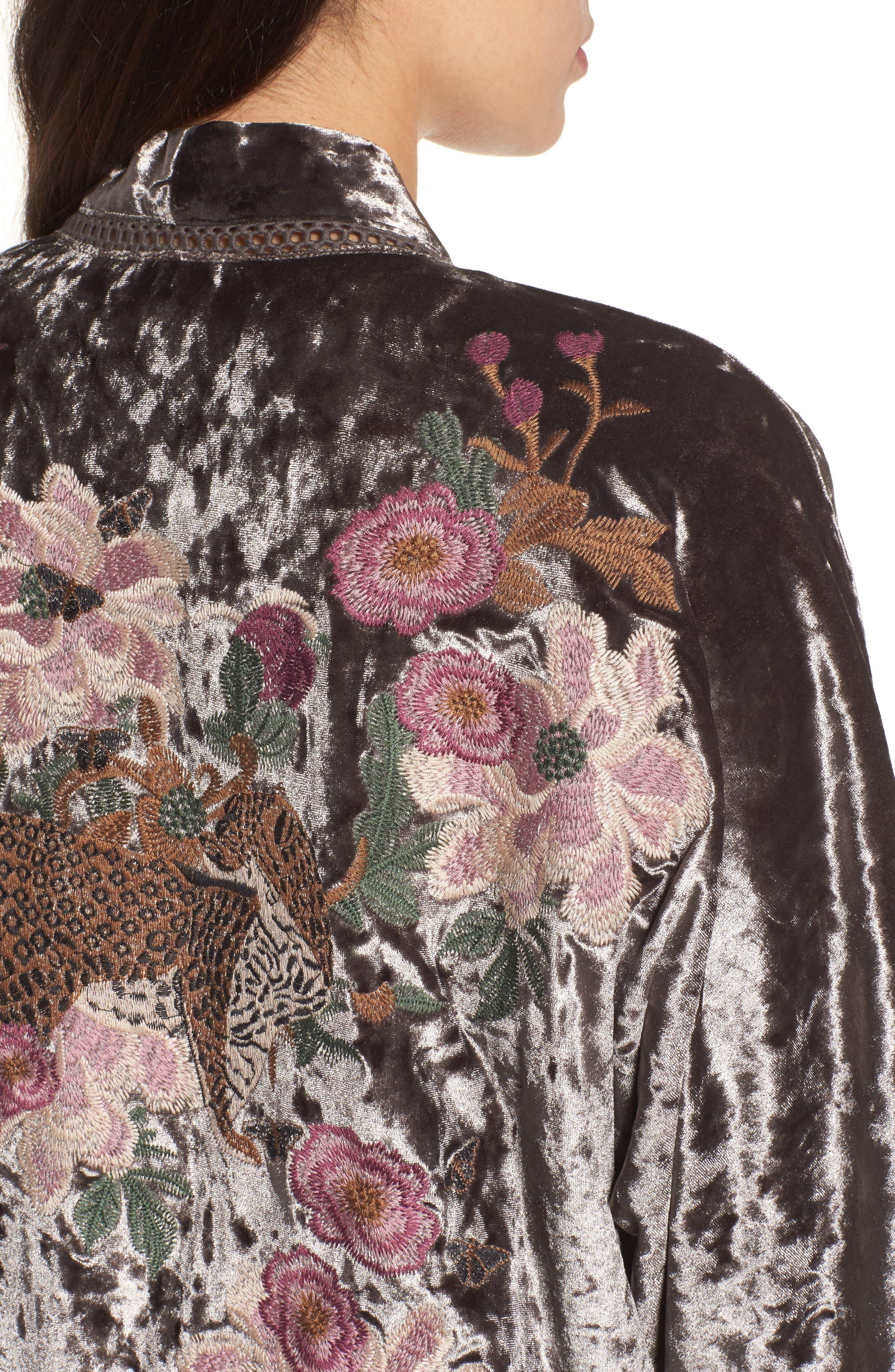 Embroidered Velvet Kimono Jacket,                             Alternate thumbnail 4, color,                             Smoke