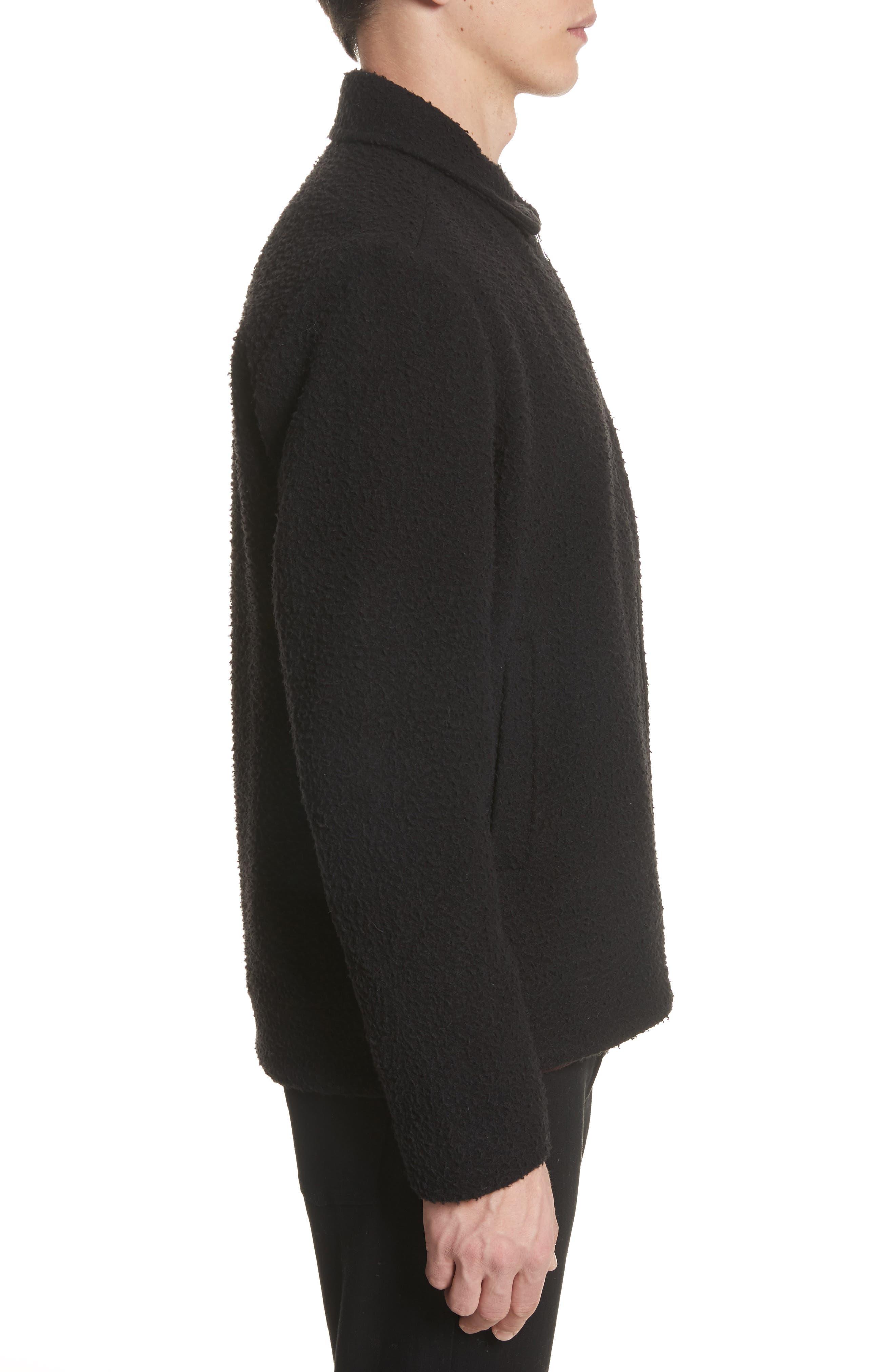 Elliott Boiled Wool Blend Jacket,                             Alternate thumbnail 3, color,                             Black