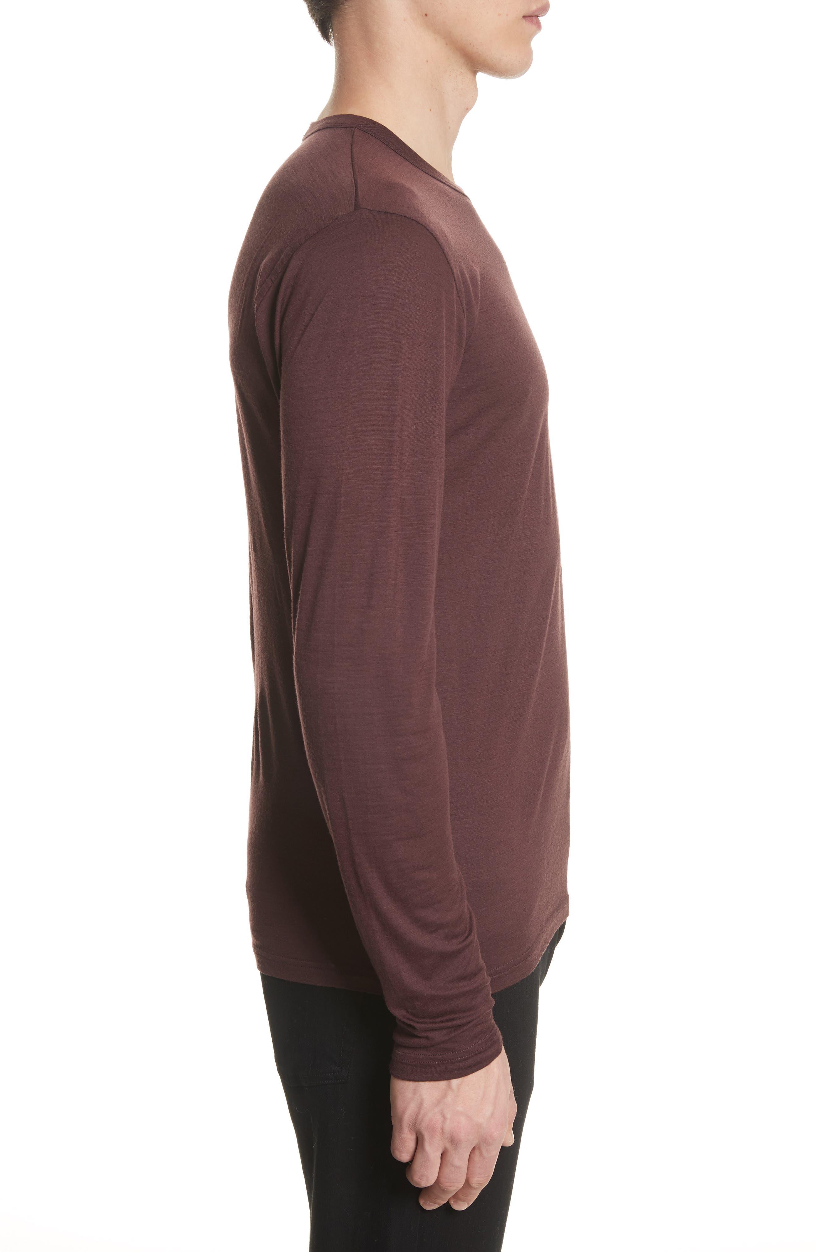Mercerized Wool Long Sleeve T-Shirt,                             Alternate thumbnail 3, color,                             Hematite Red