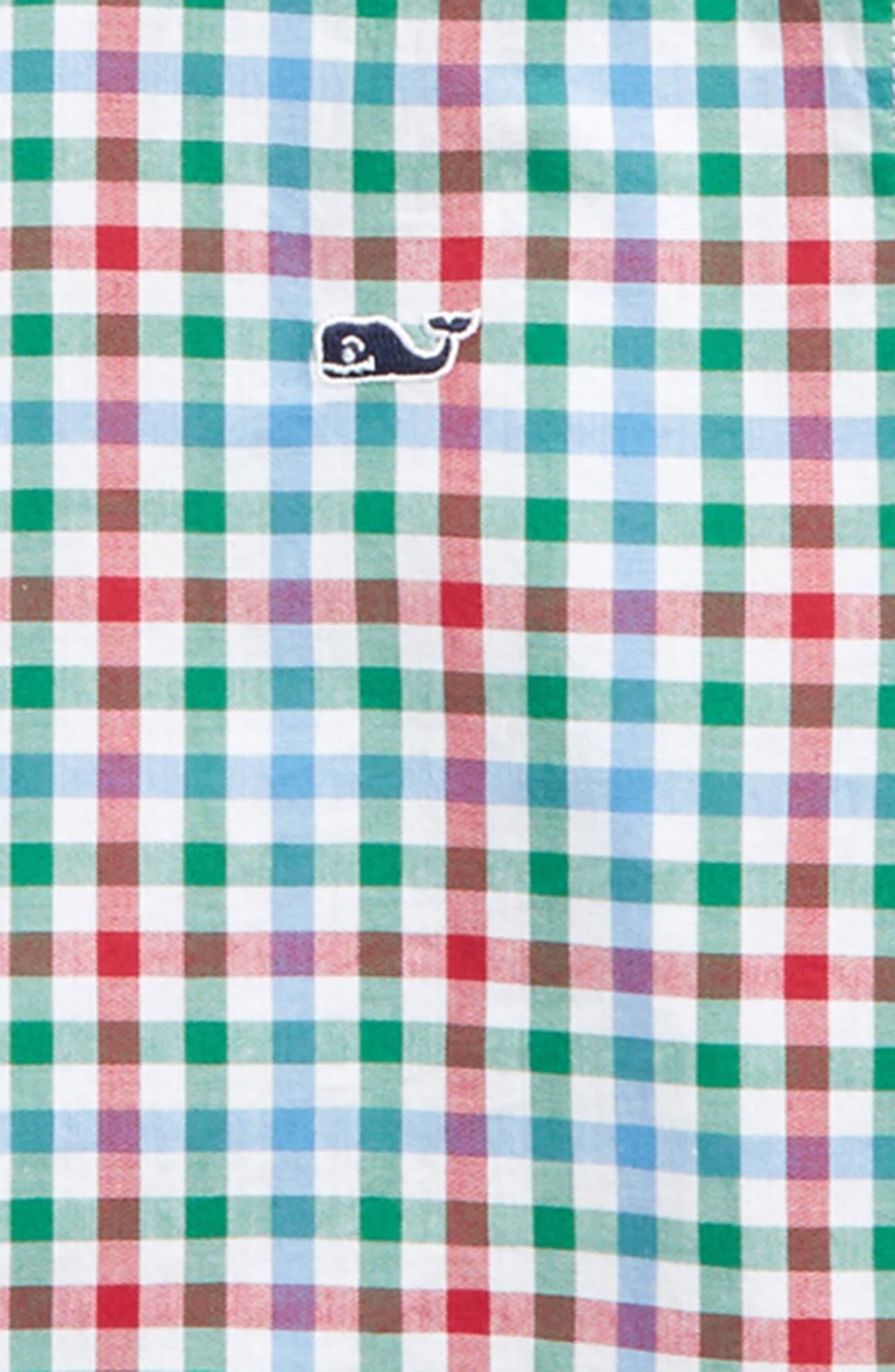 Higgins Beach Gingham Whale Shirt,                             Alternate thumbnail 2, color,                             Pomegranate