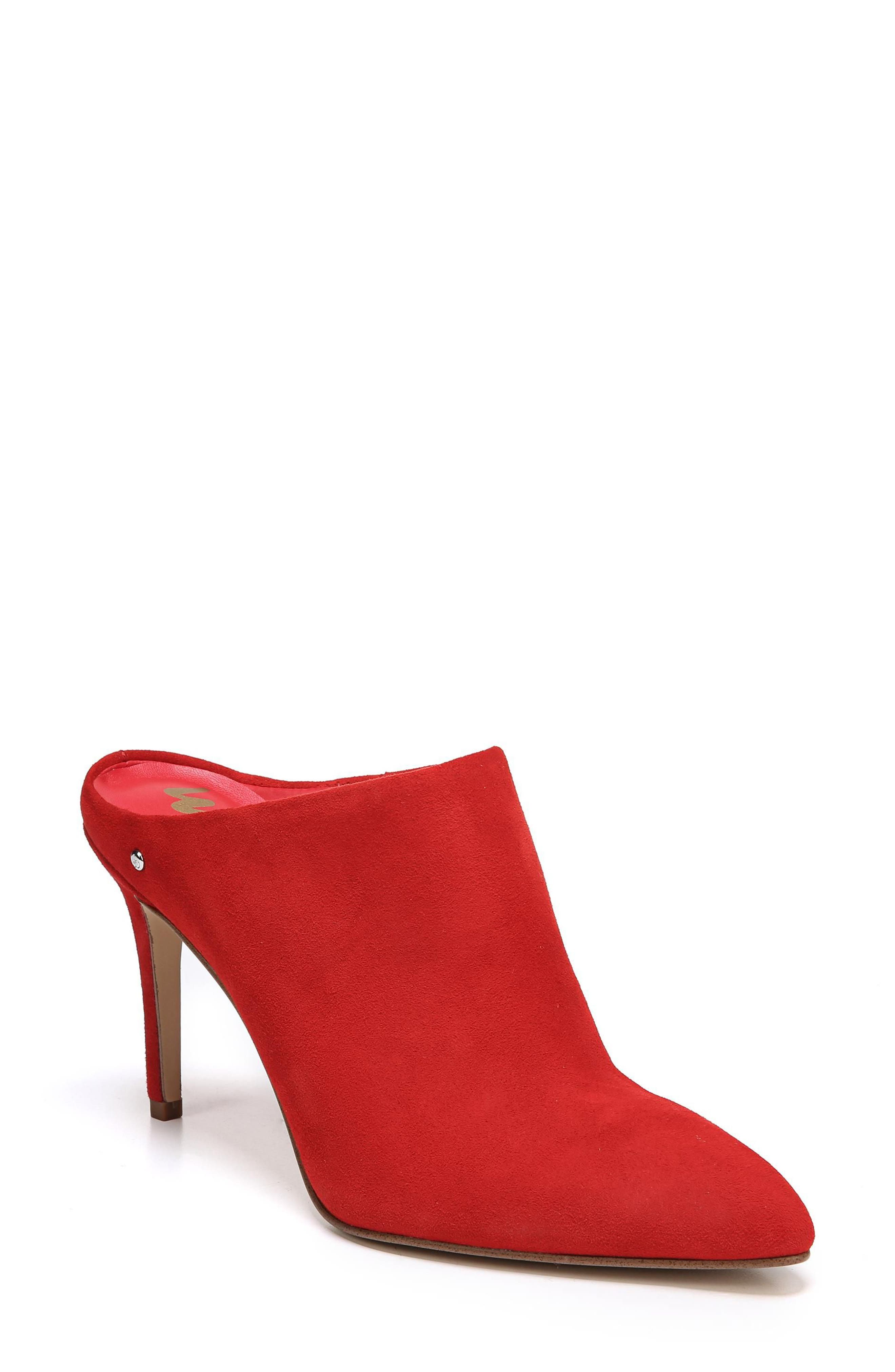 Oran Mule,                             Main thumbnail 1, color,                             Candy Red Suede