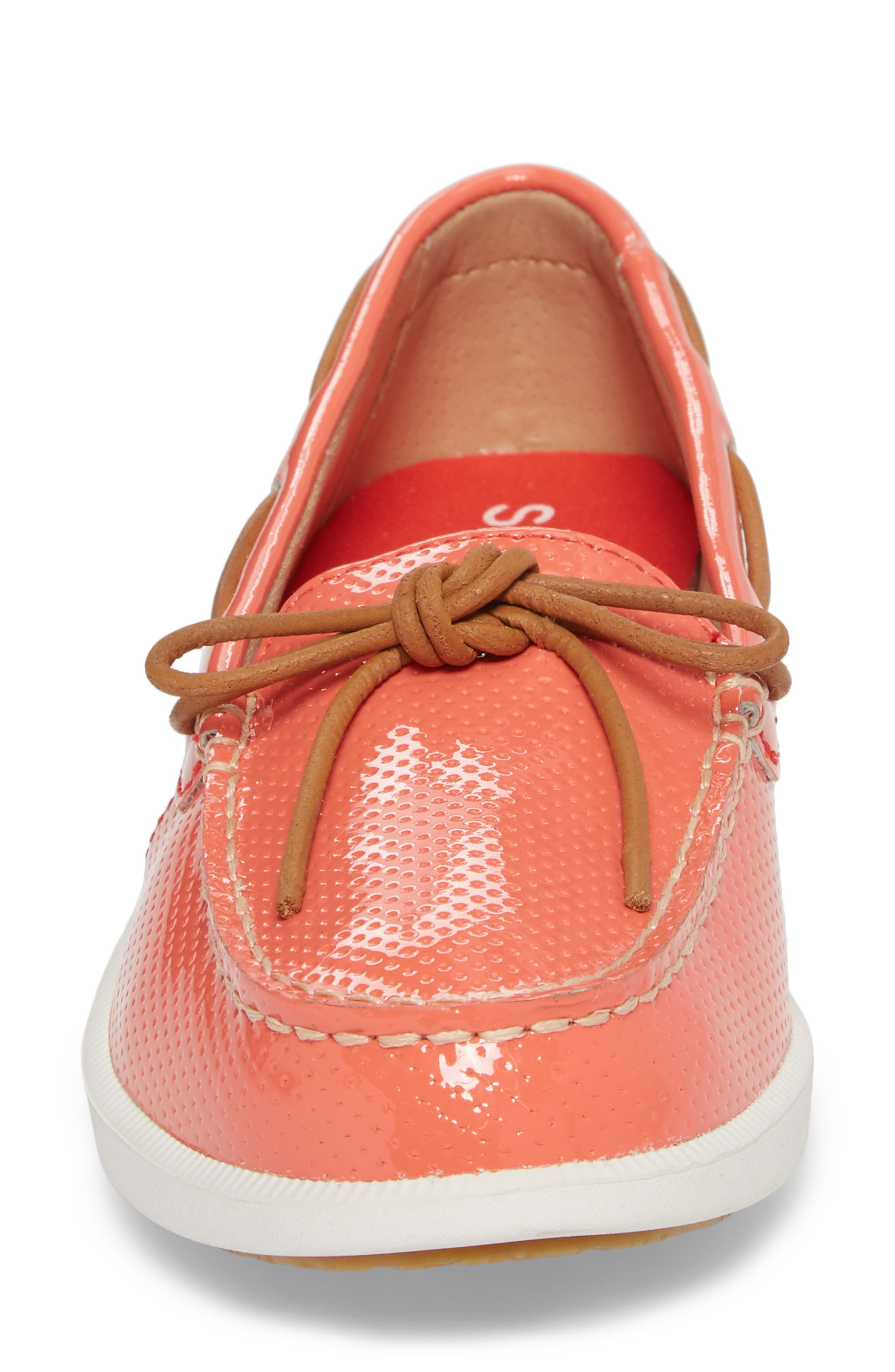 Oasis Boat Shoe,                             Alternate thumbnail 4, color,                             Coral Patent Leather