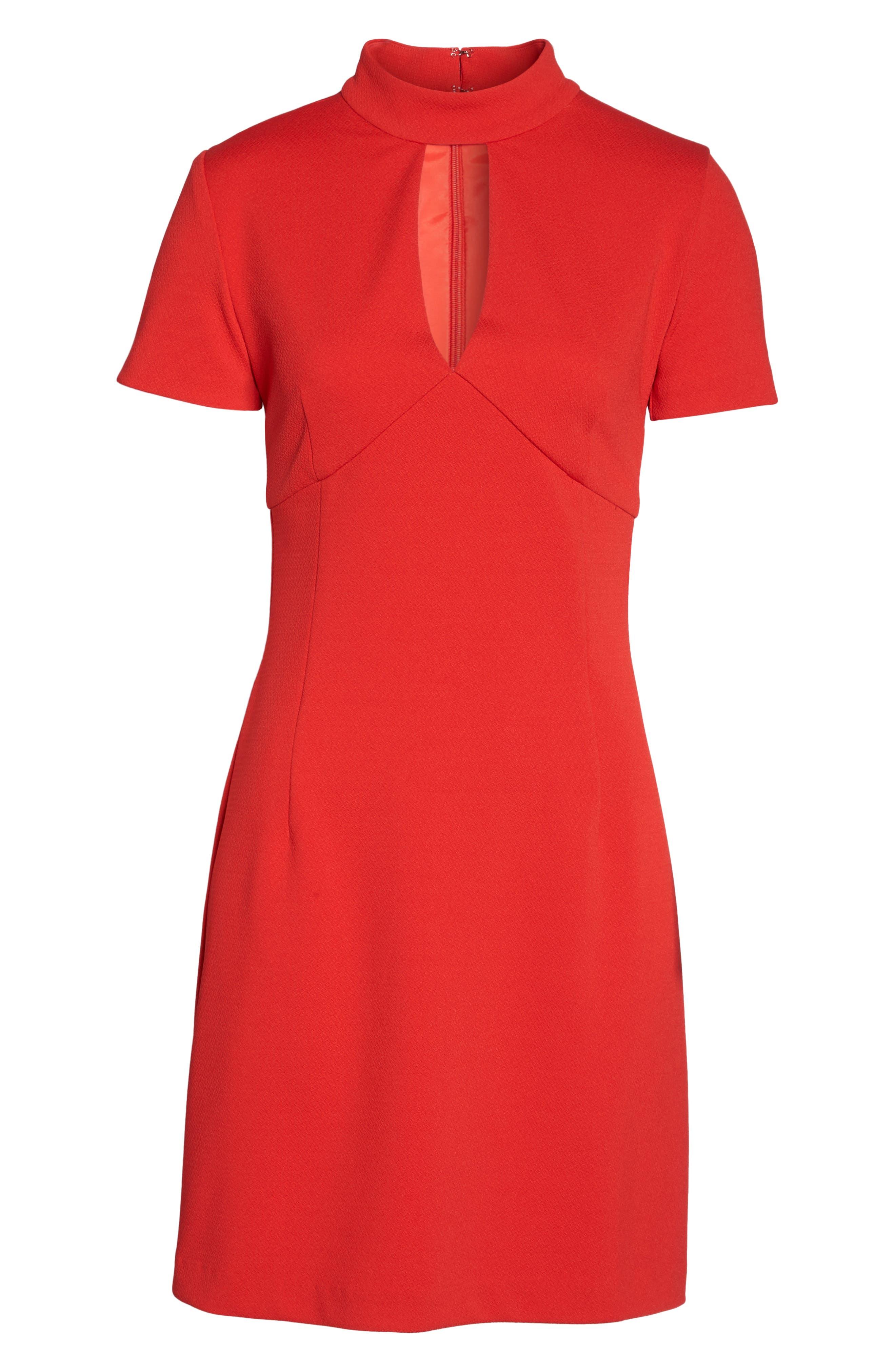 Camari Choker Collar Sheath Dress,                             Alternate thumbnail 6, color,                             Pagoda Red